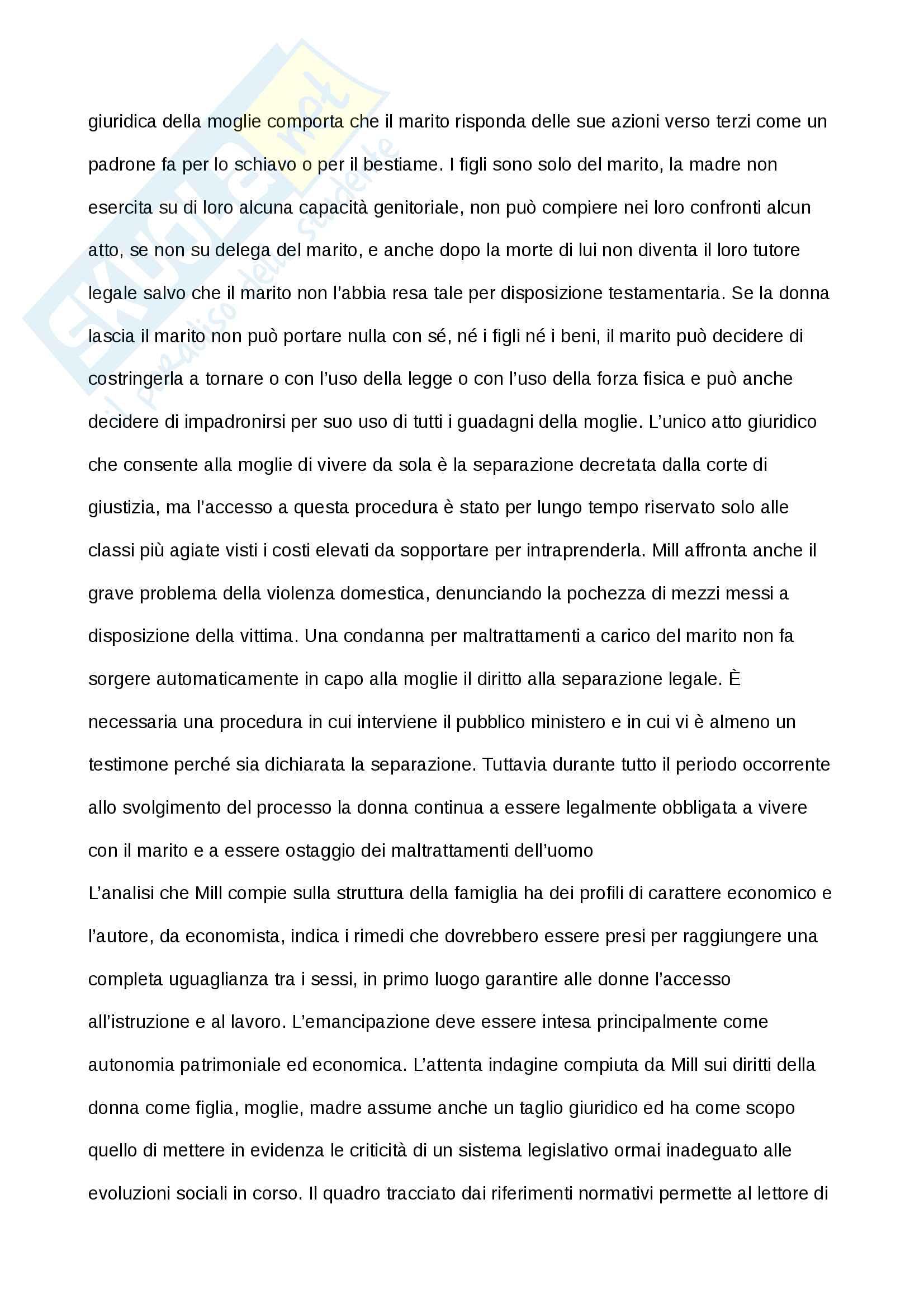 Tesina esame Prof. Di Gregorio, John Stuart Mill - L'Asservimento delle Donne Pag. 11