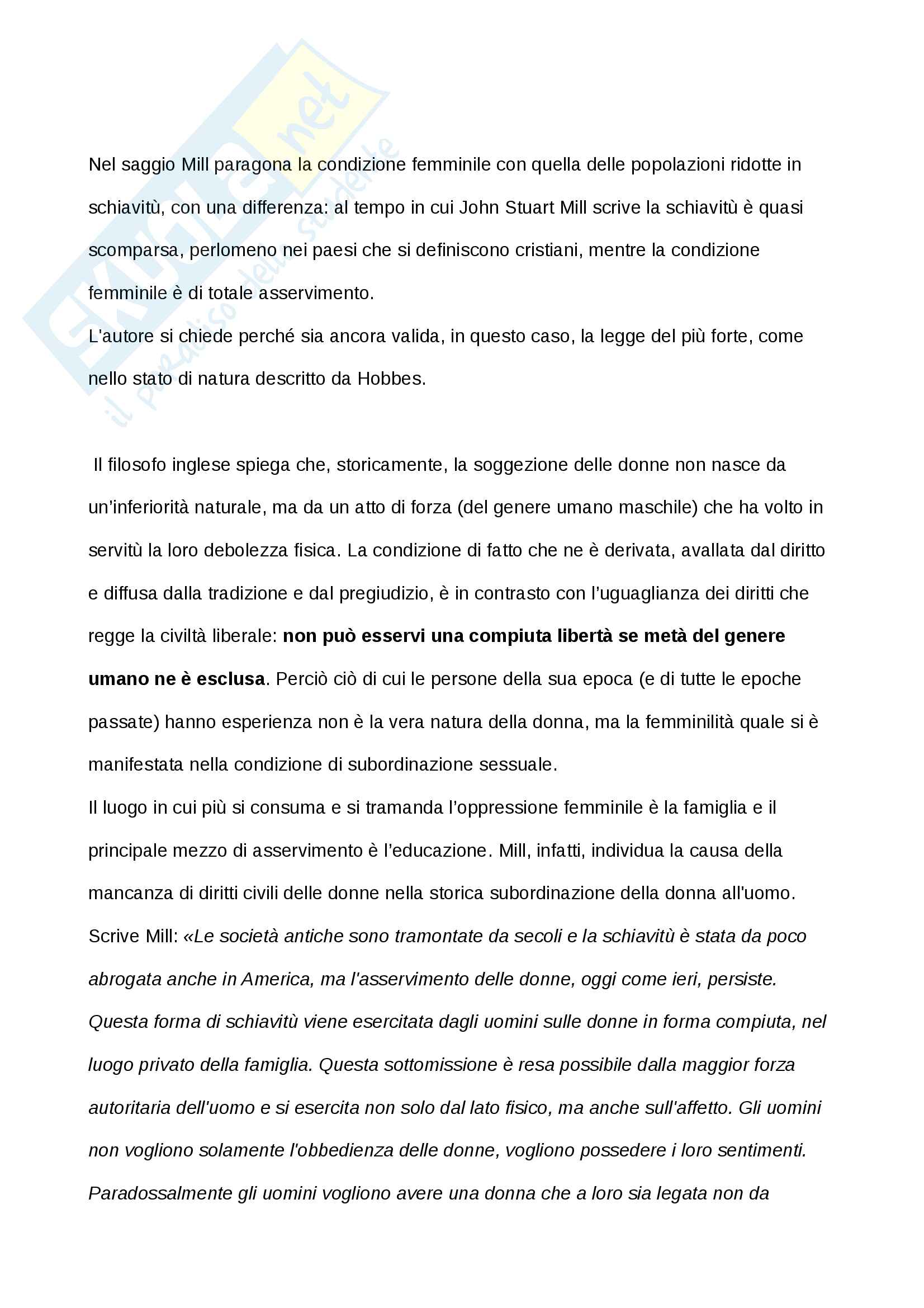 Tesina esame Prof. Di Gregorio, John Stuart Mill - L'Asservimento delle Donne Pag. 6