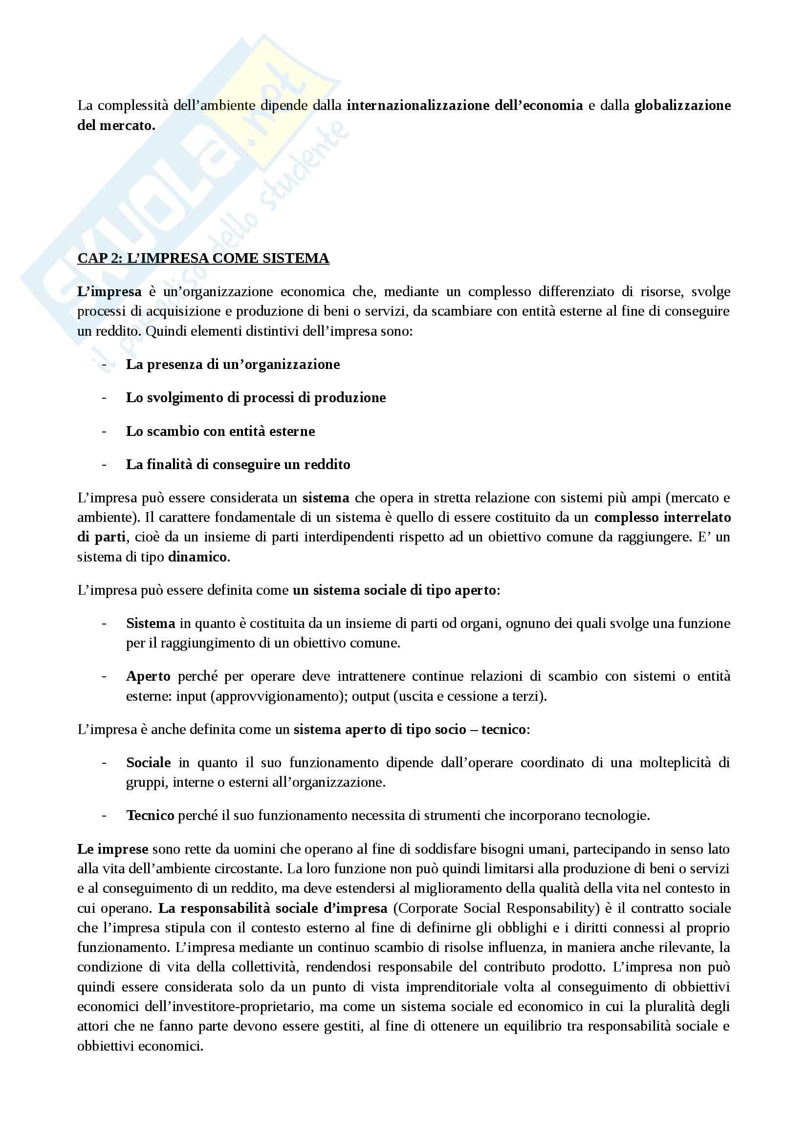 Riassunto esame Fondamenti economia, prof. Esposito, libro consigliato La gestione dell'impresa, Sciarelli Pag. 2