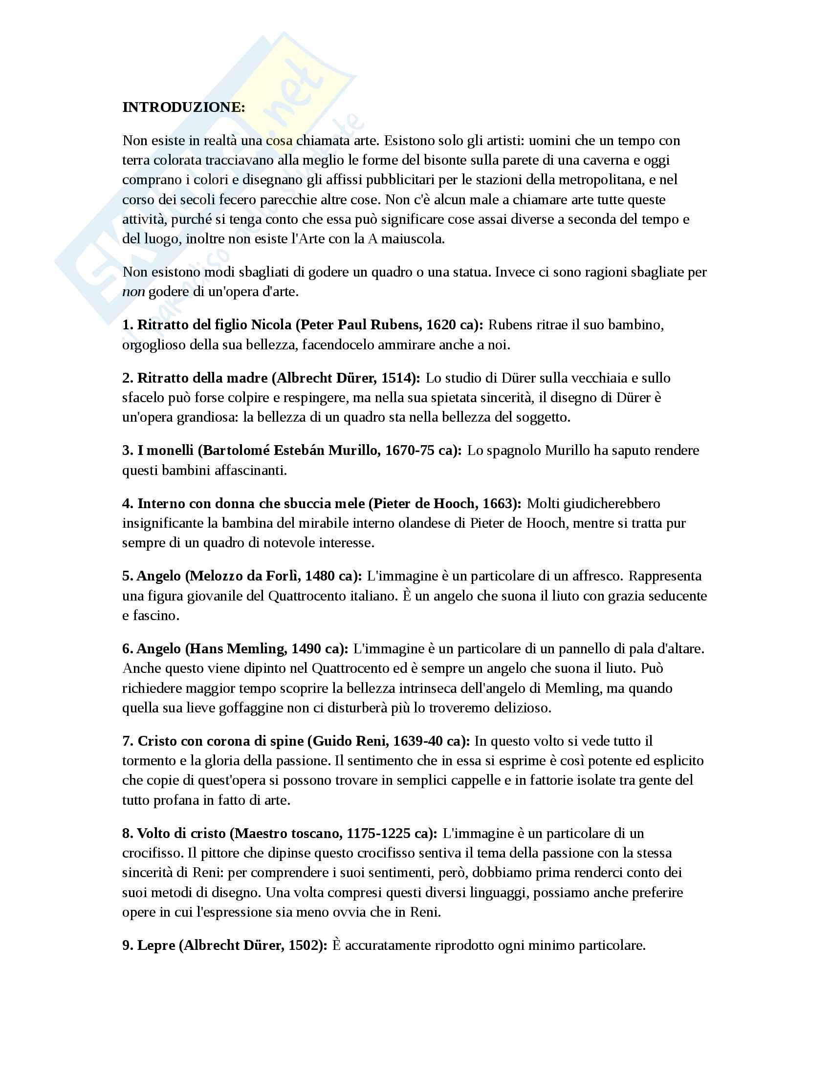 Riassunto esame di metodologia della ricarca storico-artistica, prof. Collareta, libro consigliato La storia dell'arte raccontata da Gombrich