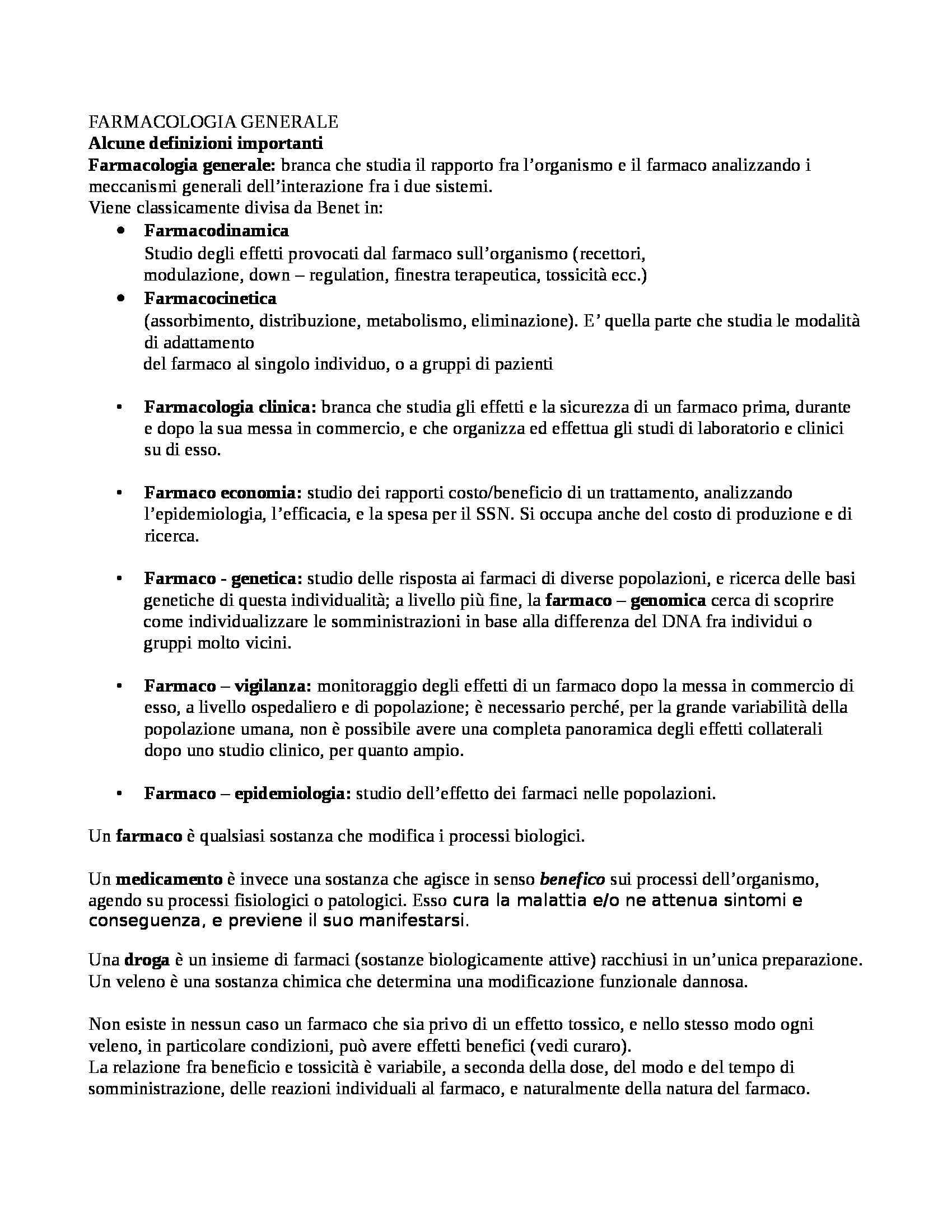 Farmacologia - schema farmacocinetica e dinamica