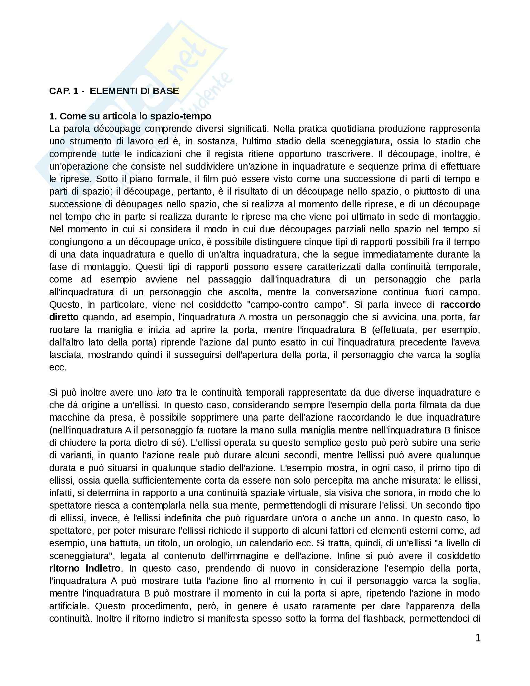 Riassunto esame Semiologia del cinema e degli audiovisivi, prof. Mancino, libro consigliato Prassi del cinema, Burch
