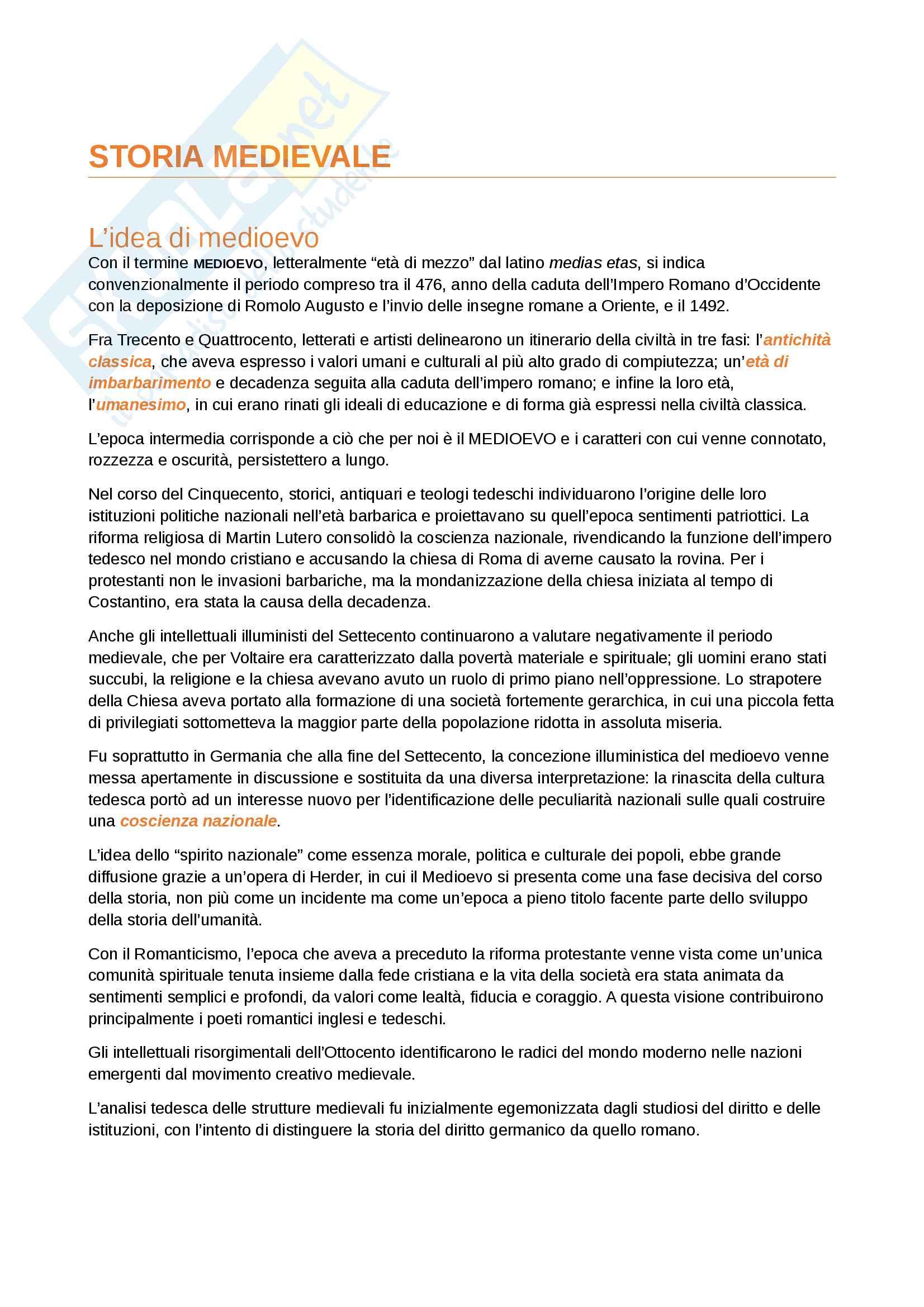 Riassunto dell'esame Storia Medievale, prof. Gagliardi e Salvestrini, manuali consigliati Alto e Basso Medioevo, Tabacco, Merlo (12 cfu)