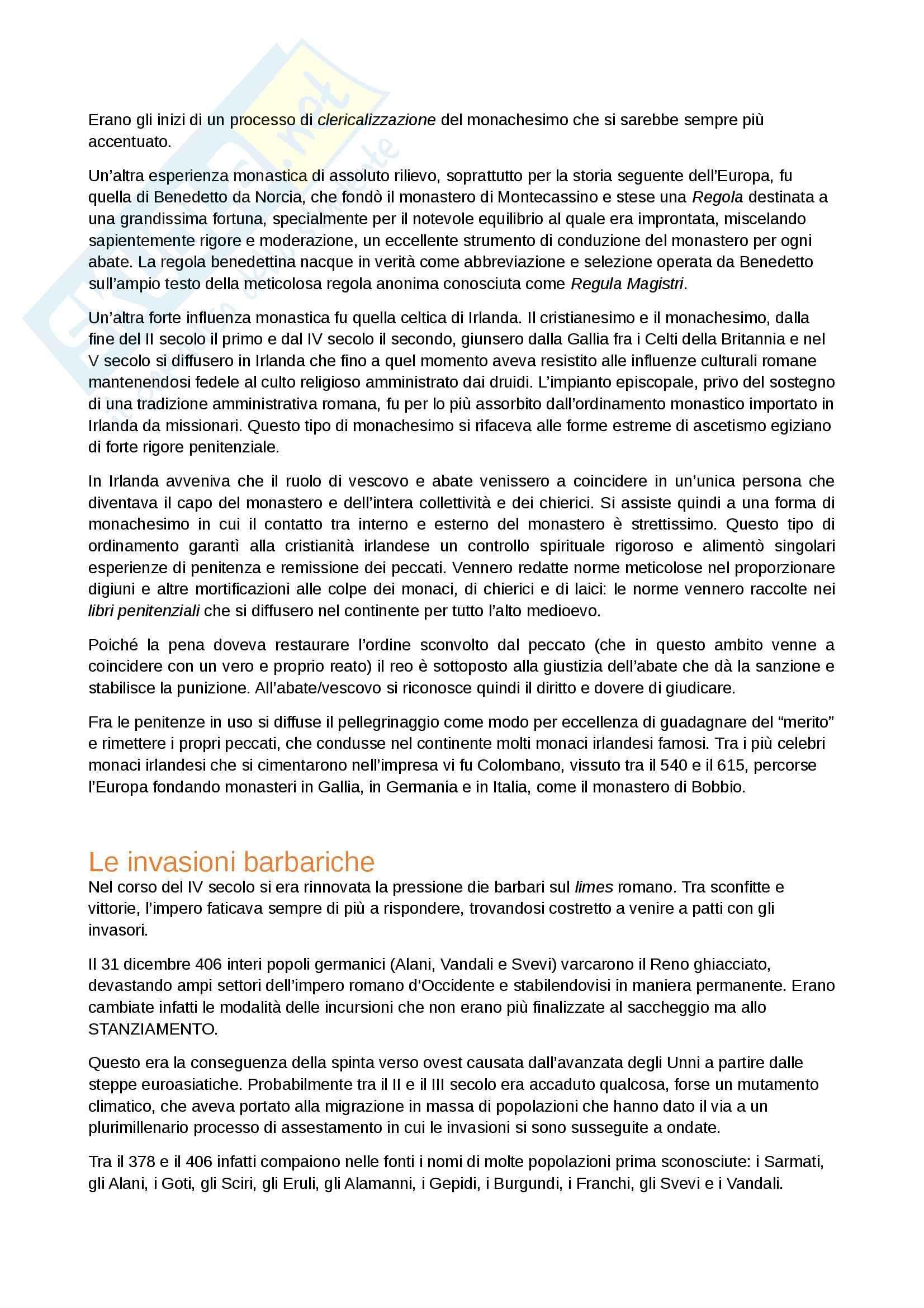 Riassunto dell'esame Storia Medievale, prof. Gagliardi e Salvestrini, manuali consigliati Alto e Basso Medioevo, Tabacco, Merlo (12 cfu) Pag. 6