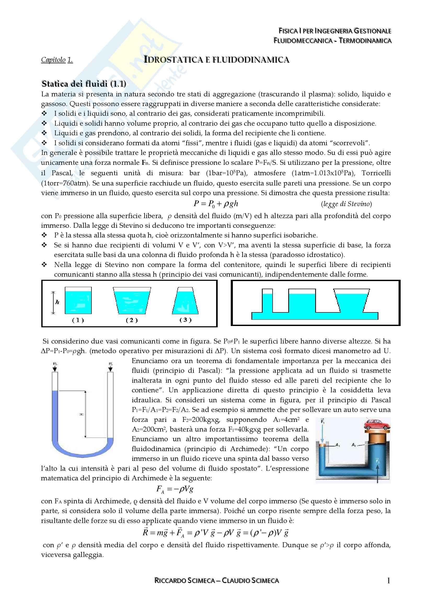 Fisica I - fluidomeccanica e termodinamica