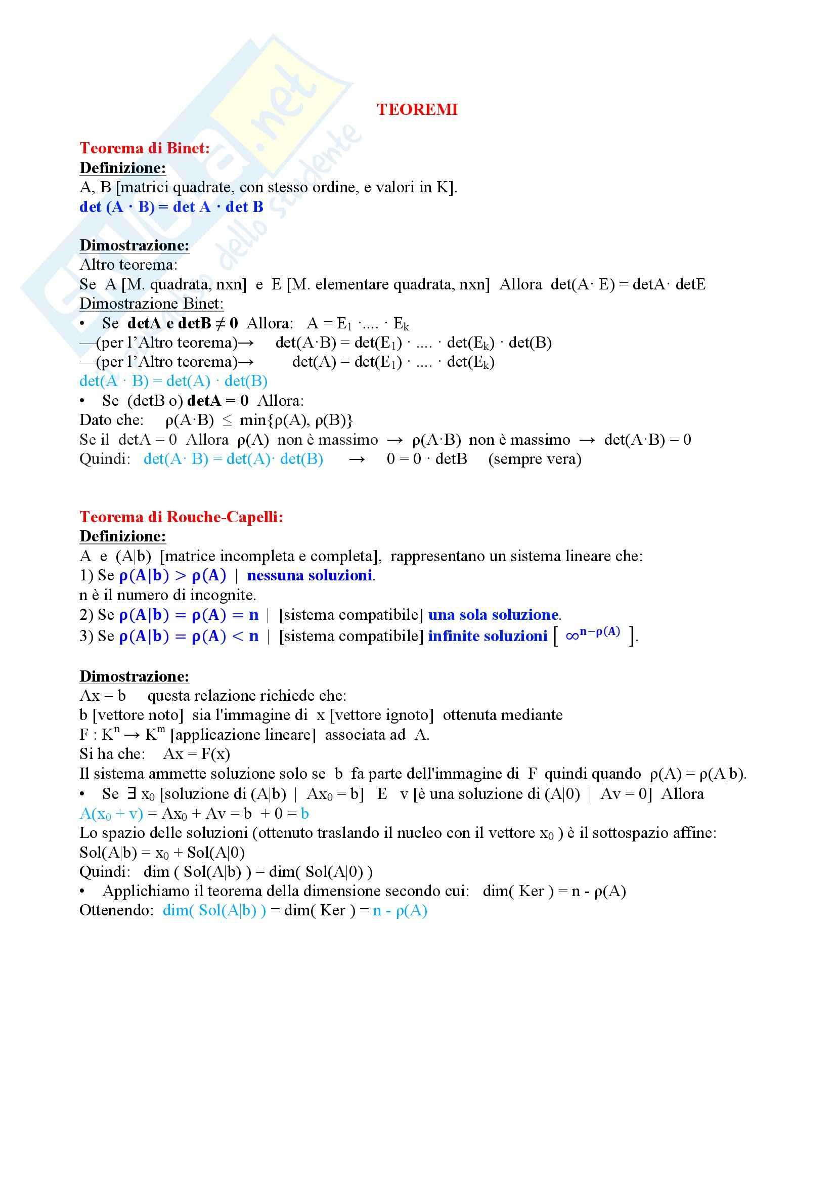 Algebra e Geometria - Teoremi principali