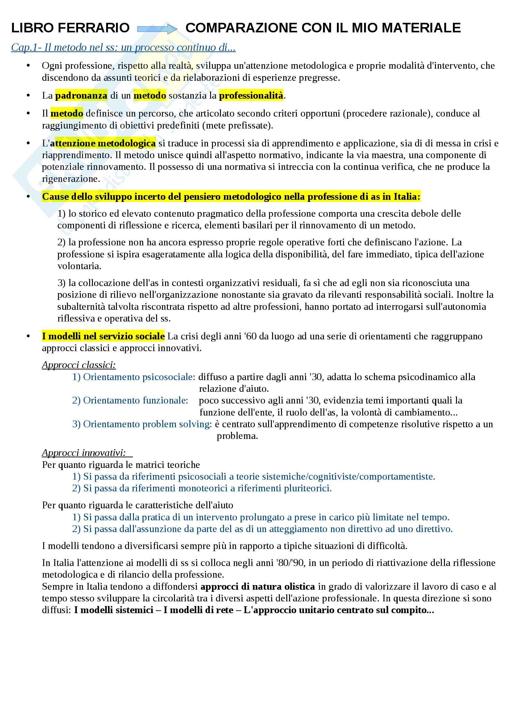 Riassunto esame Metodi e Tecniche del servizio sociale, libro consigliato Le dimensioni dell'intervento sociale, Ferrario