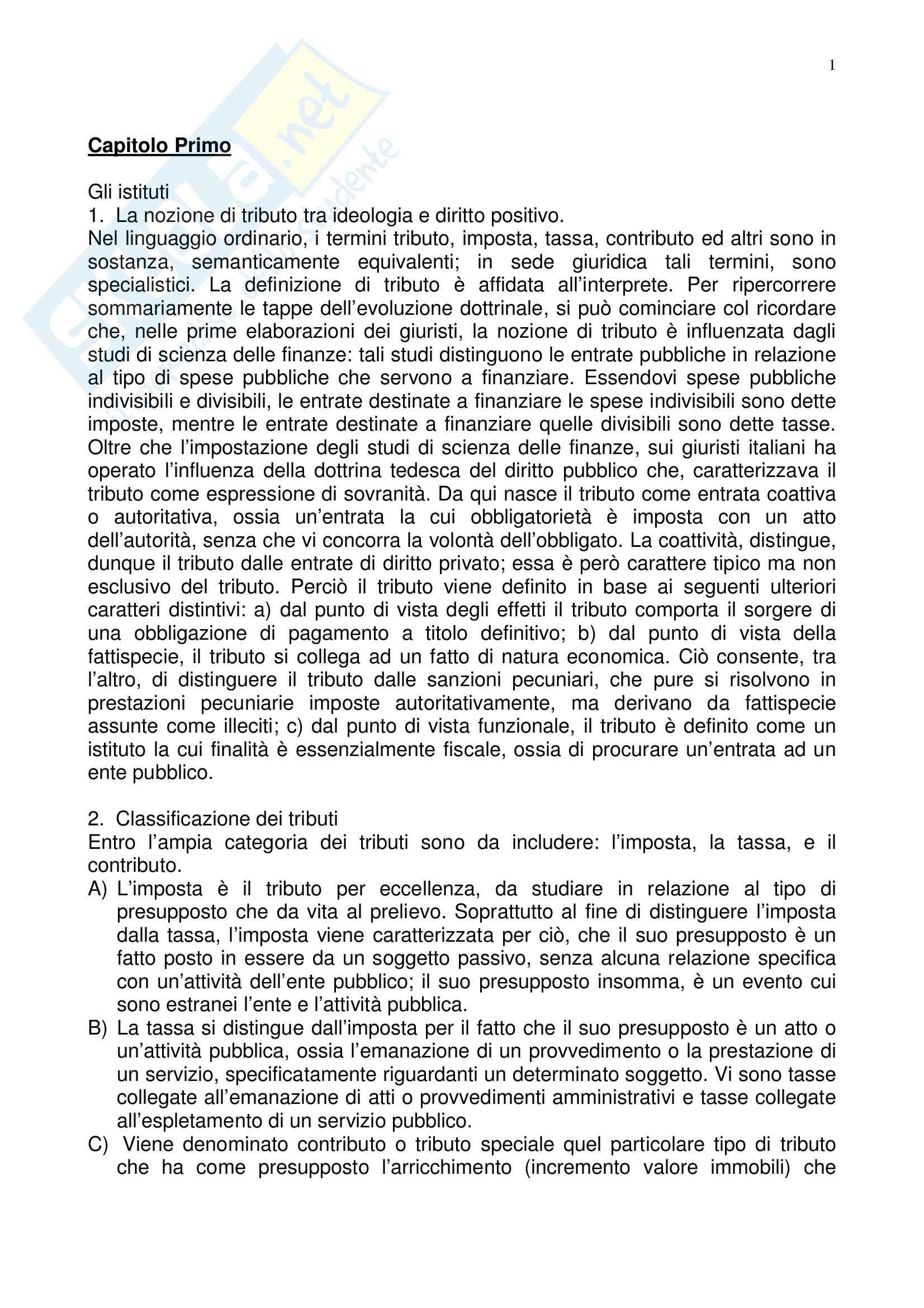 Riassunto esame Diritto tributario, prof. Ardizzone, libro consigliato Diritto tributario, Tesauro
