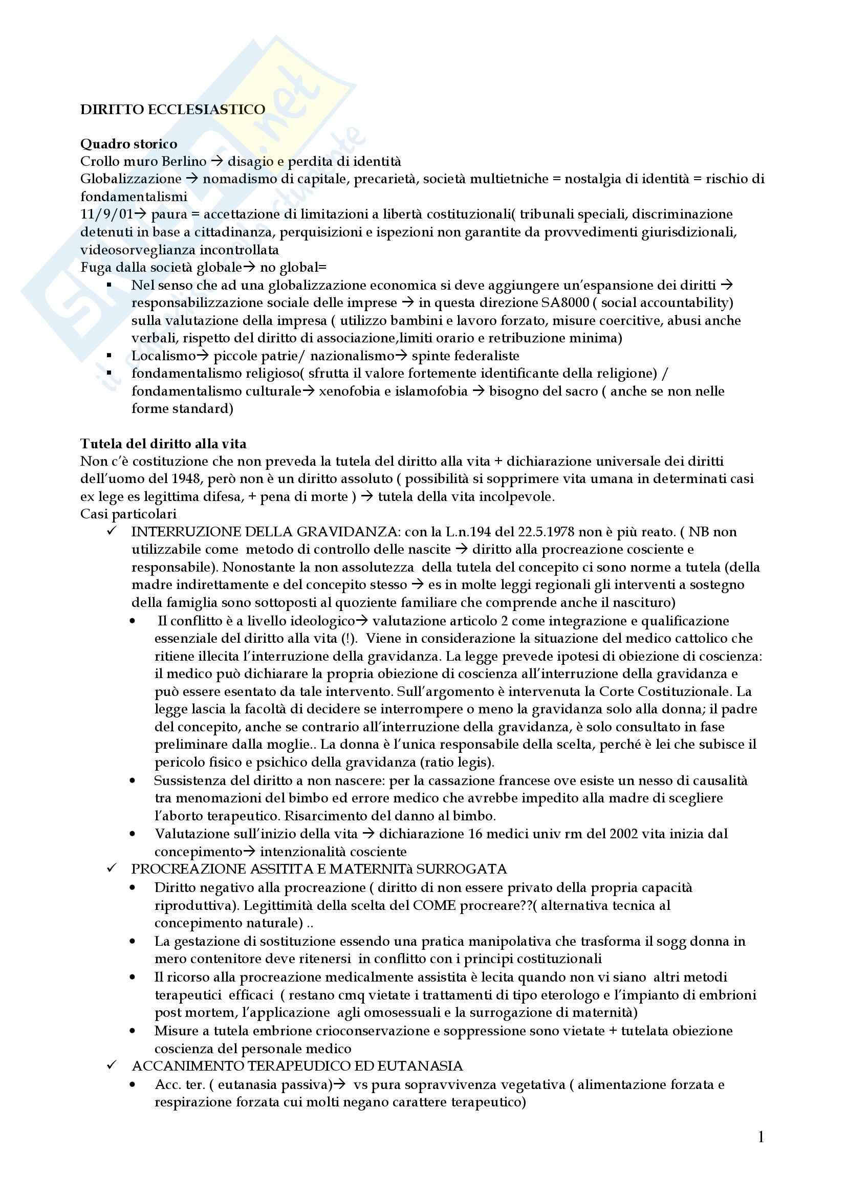 Riassunto esame Diritto, prof. Cimbalo, libro consigliato Diritto ecclesiastico, Botta