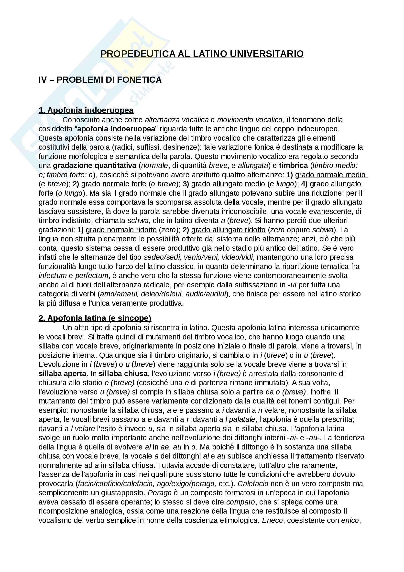 Riassunto esame Lingua e letteratura latina I, prof. Berno, libro consigliato Propedeutica al latino universitario, A. Traina