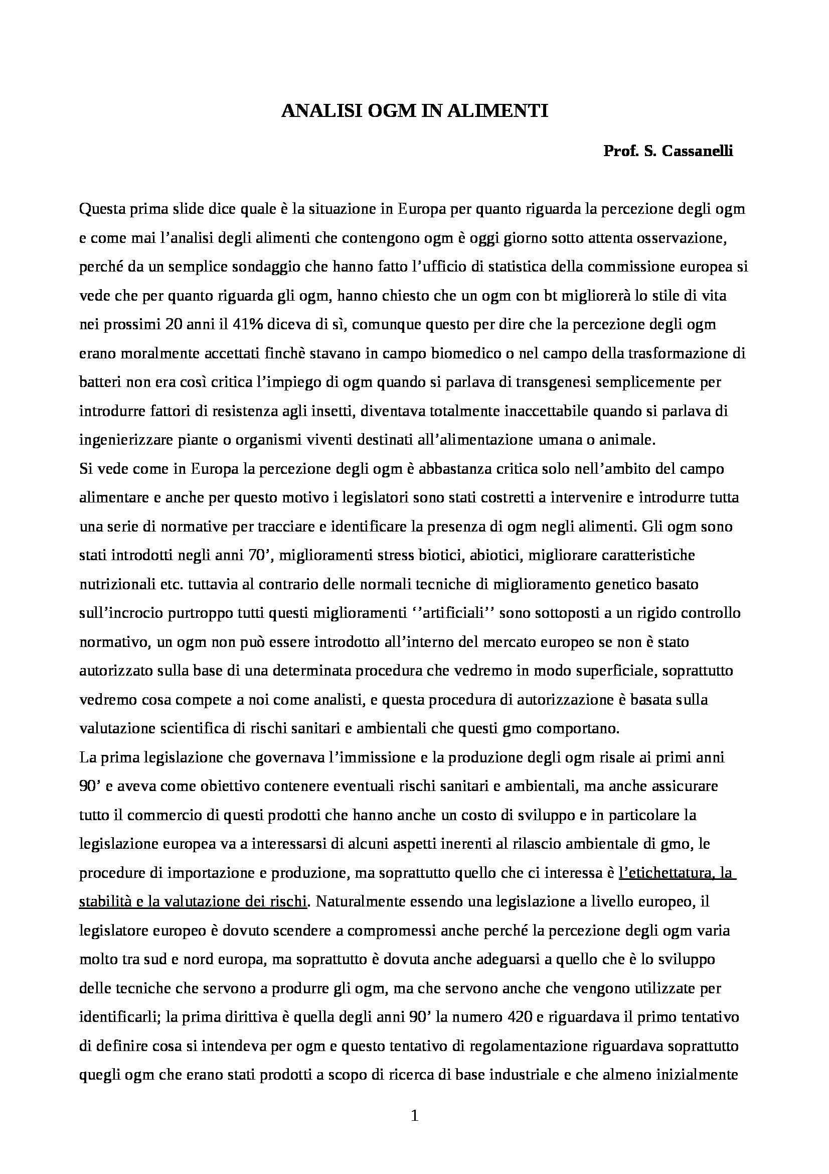 appunto S. Cassanelli Analisi degli OGM in alimenti