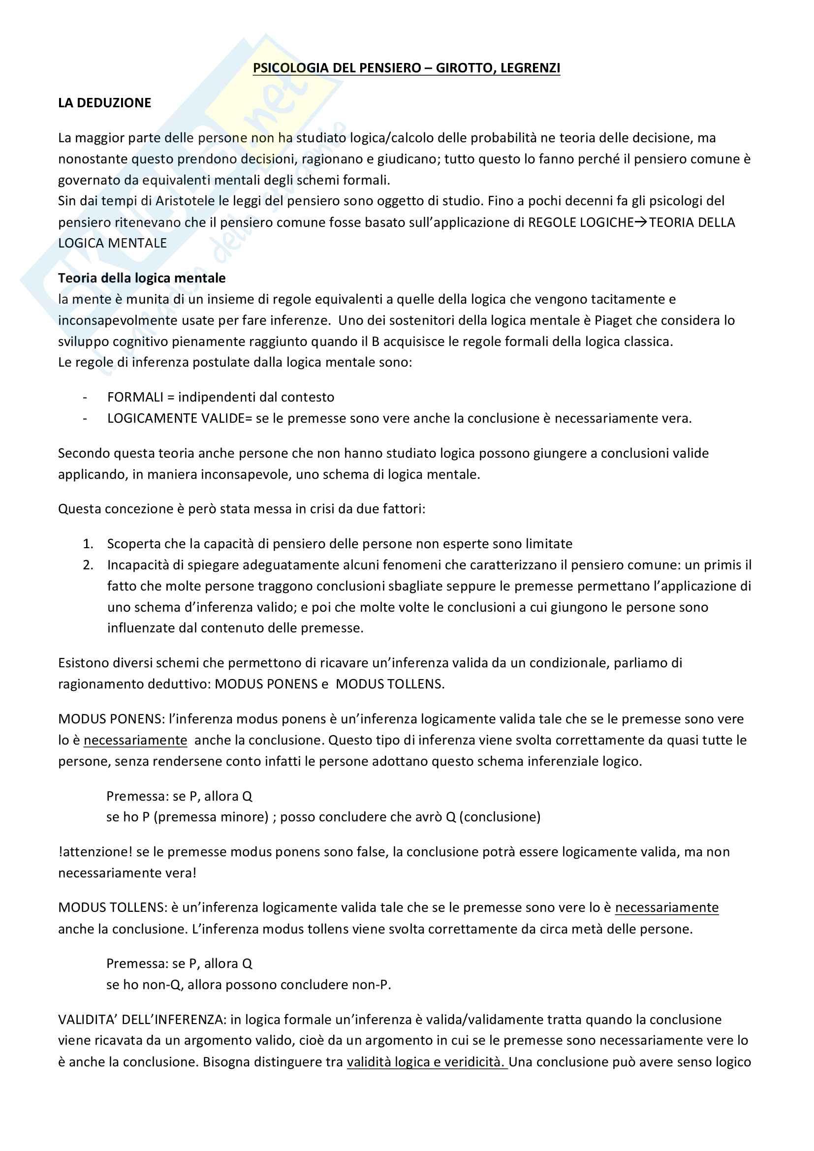 Riassunto esame Psicologia Generale 2, prof. Macchi, libri consigliati Psicologia del pensiero, Girotto e Legrenzi, Discorso e pensiero, Mosconi e Il linguaggio, Legreni