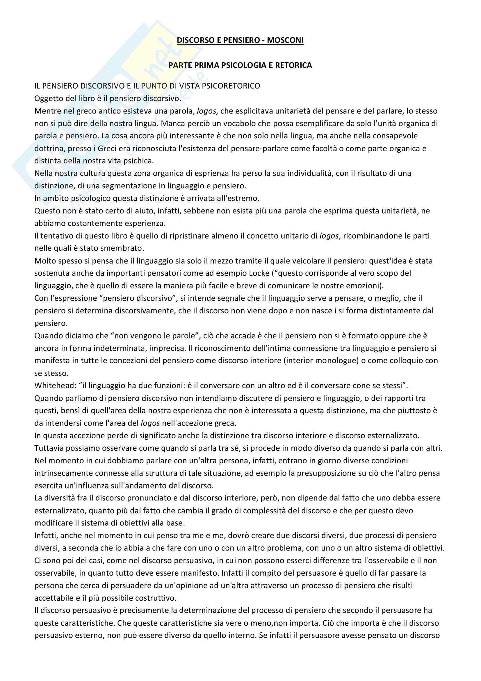 Riassunto esame Psicologia Generale 2, prof. Macchi, libri consigliati Psicologia del pensiero, Girotto e Legrenzi, Discorso e pensiero, Mosconi e Il linguaggio, Legreni Pag. 26