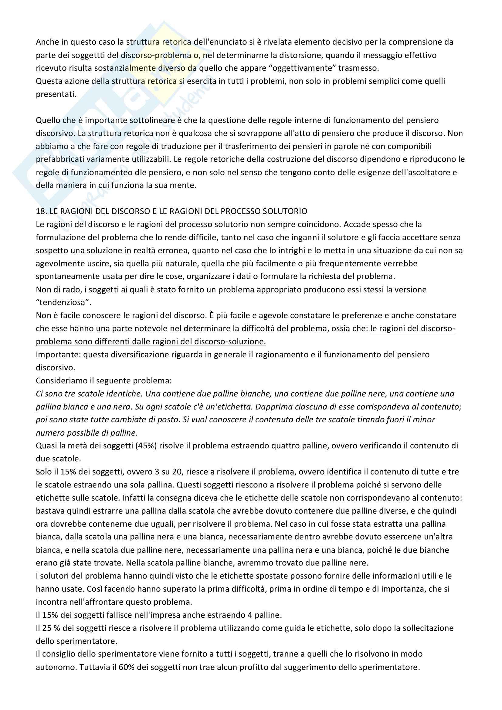 Riassunto esame Psicologia Generale 2, prof. Macchi, libri consigliati Psicologia del pensiero, Girotto e Legrenzi, Discorso e pensiero, Mosconi e Il linguaggio, Legreni Pag. 81