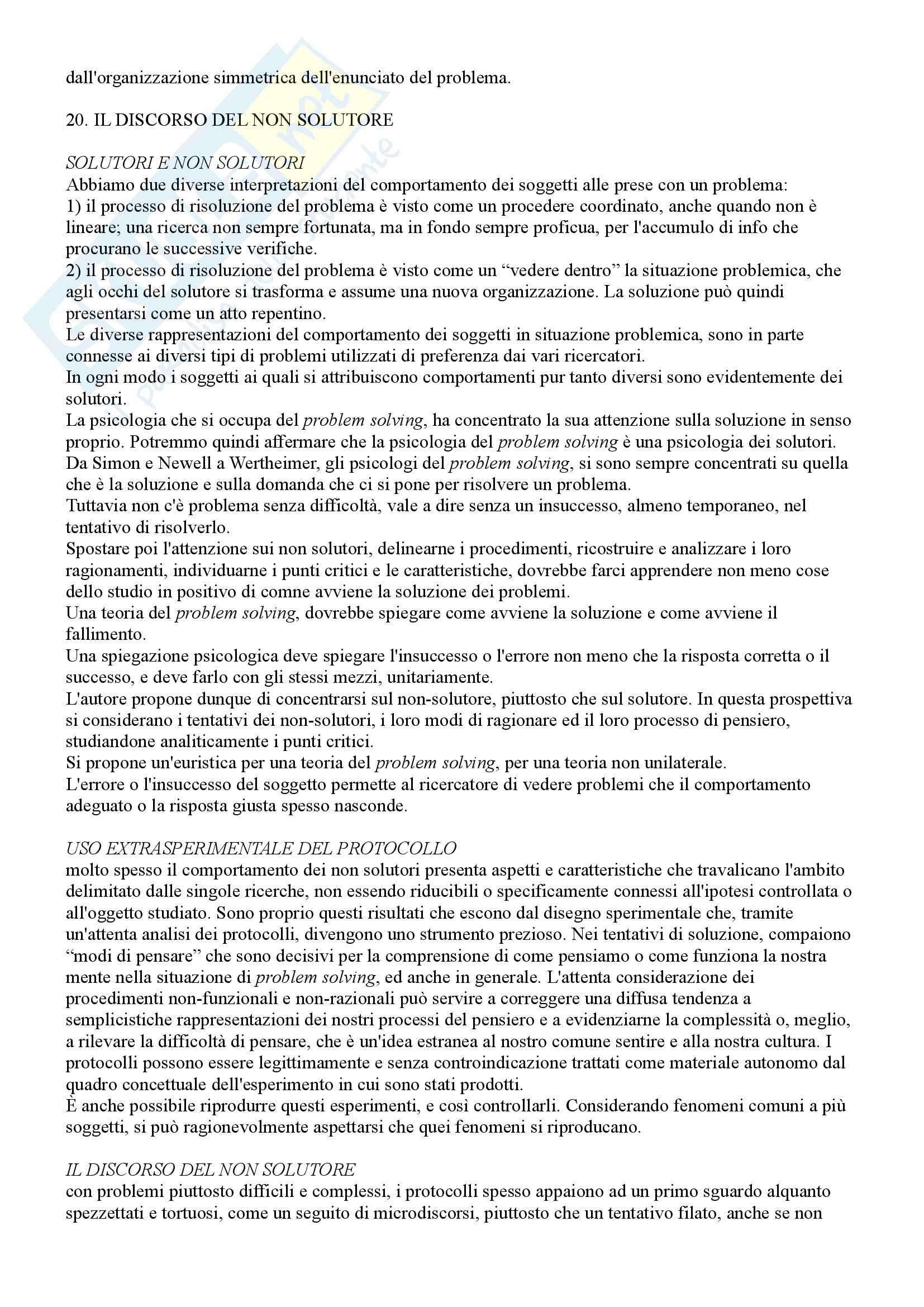 Riassunto esame Psicologia Generale 2, prof. Macchi, libri consigliati Psicologia del pensiero, Girotto e Legrenzi, Discorso e pensiero, Mosconi e Il linguaggio, Legreni Pag. 86