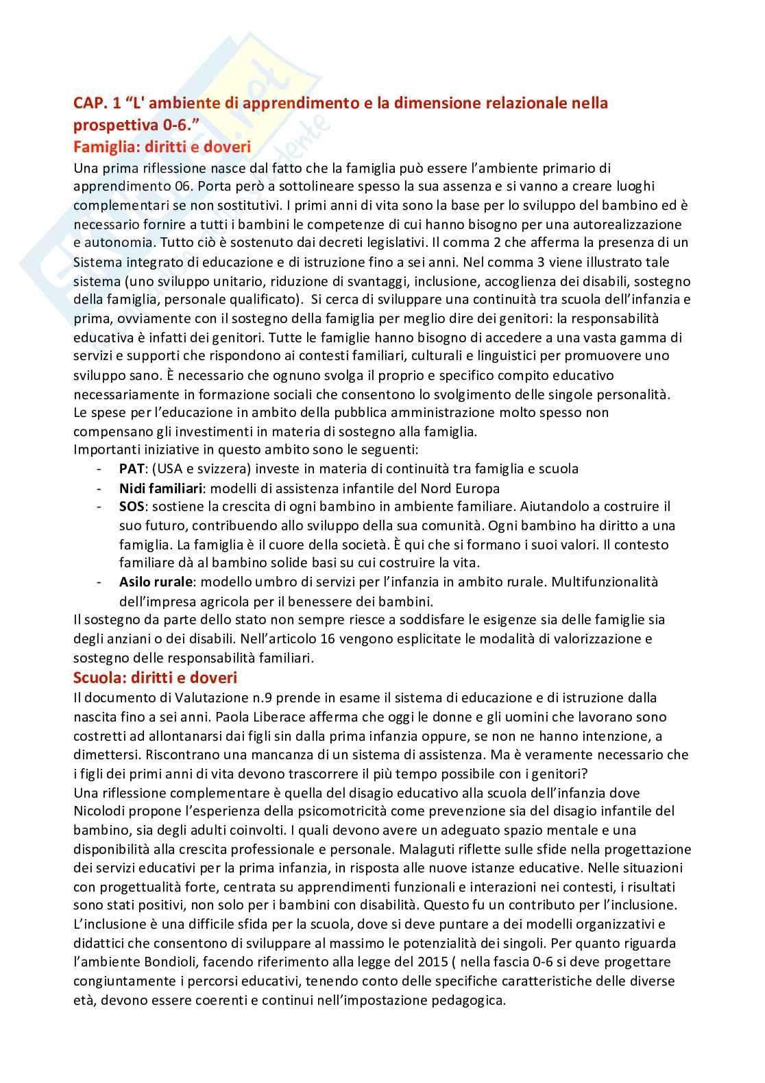 Riassunto esame didattica generale, prof. De Santis, libro consigliato: L'ambiente di apprendimento e la dimensione relazionale nella prospettiva 0-6