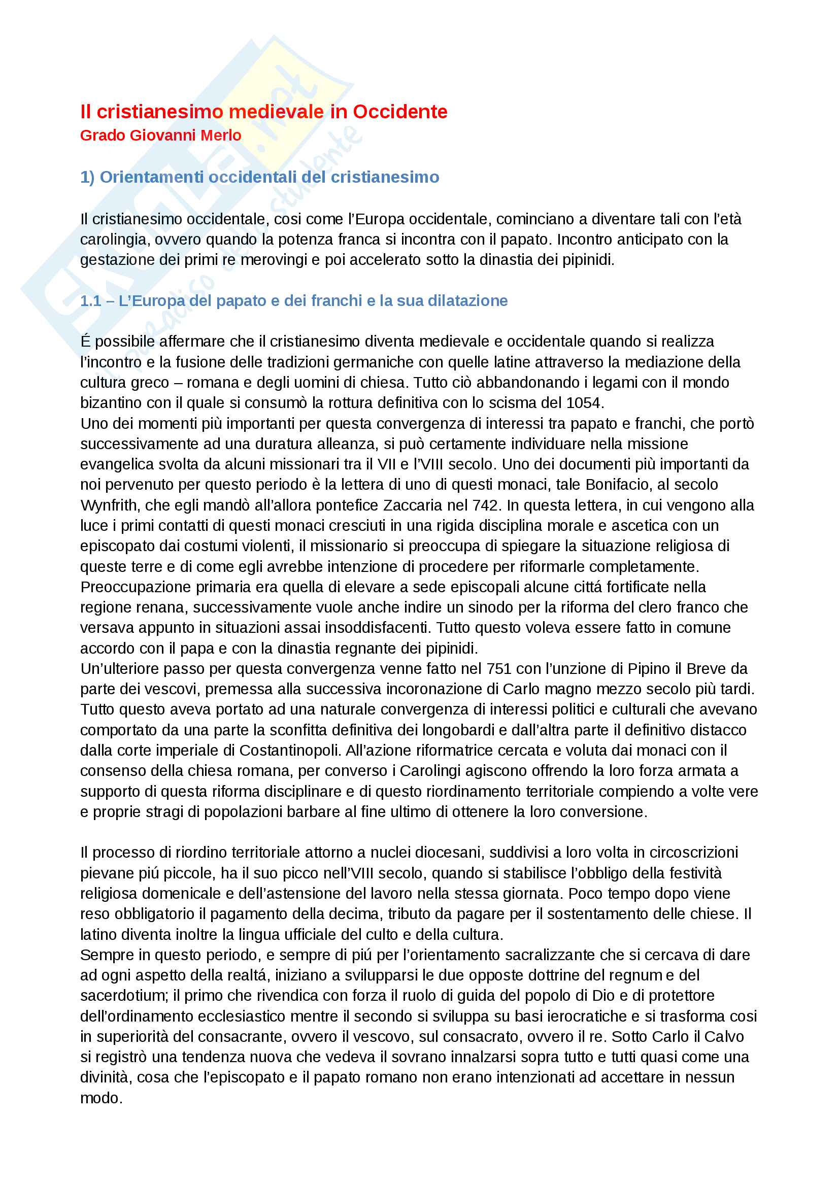 'Riassunto esame storia della chiesa e dei movimenti ereticali, prof. Benedetti, libro consigliato Il Cristianesimo medievale in Occidente