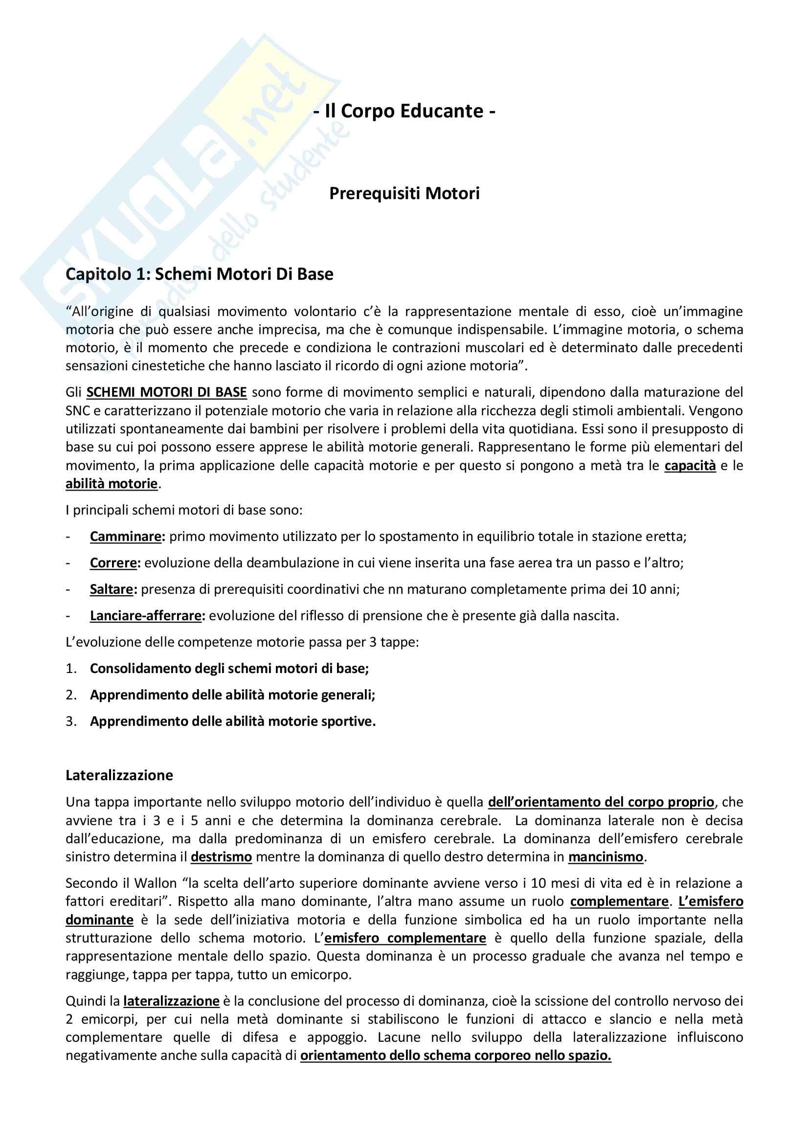 Riassunto esame Età Evolutiva, libro consigliato A. Federici, M. Valentini, C. Tonini Cardinali, Il Corpo Educante, Edizione Aracne, Roma 2008