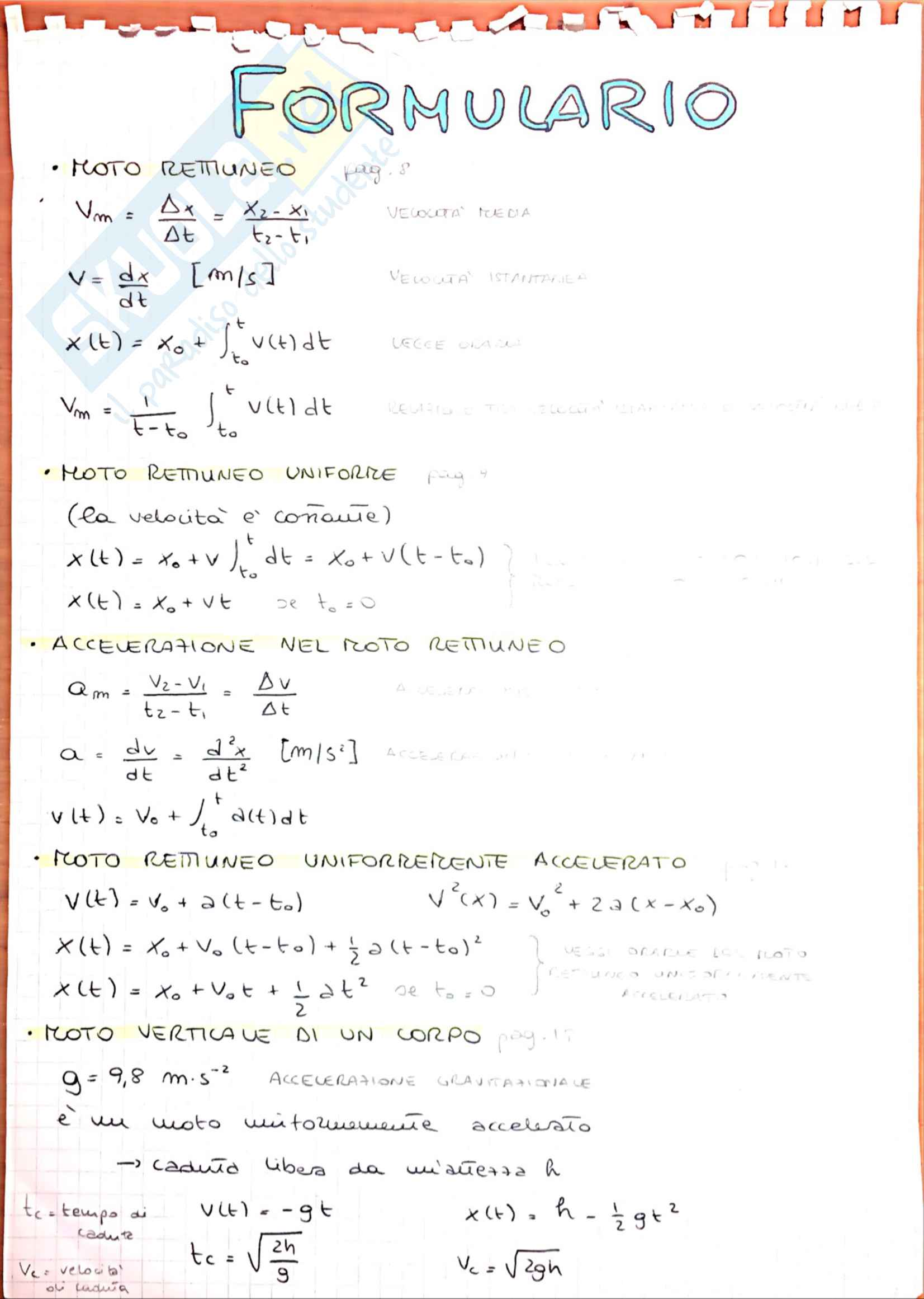 Formulario di Fisica sperimentale, libro consigliato: Mazzoldi Nigro Voci