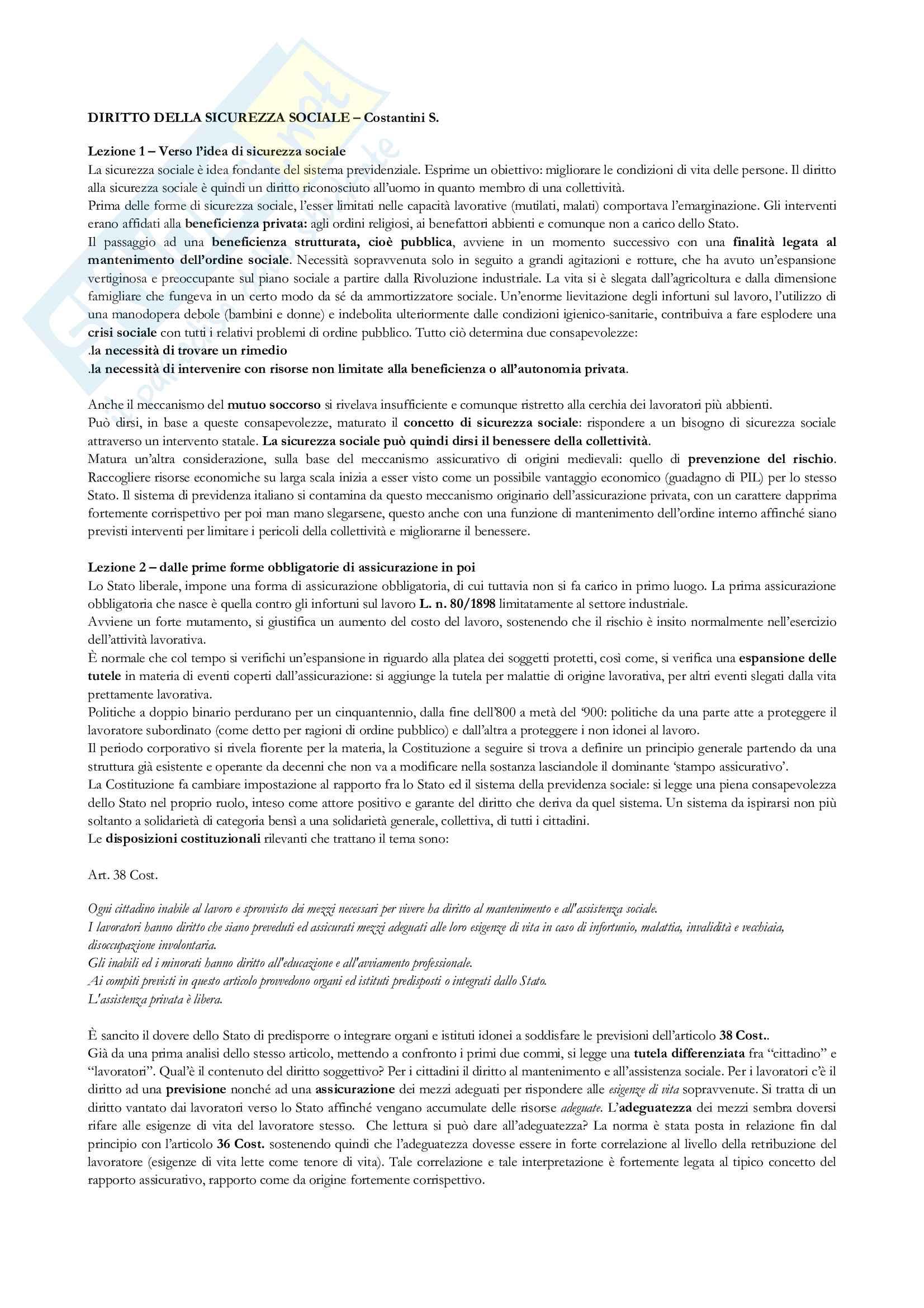 Appunti per l'esame di diritto della sicurezza sociale