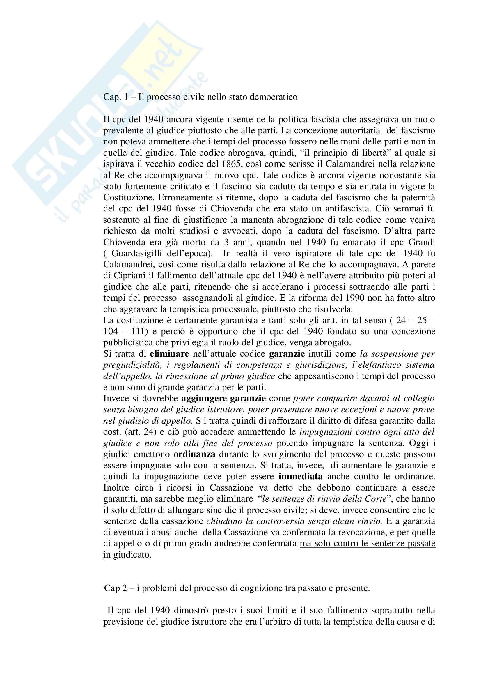 Riassunto esame Diritto Processuale Civile, prof. Trisorio, libro consigliato Il Processo Civile nello Stato Democratico, Cipriani - Parte speciale