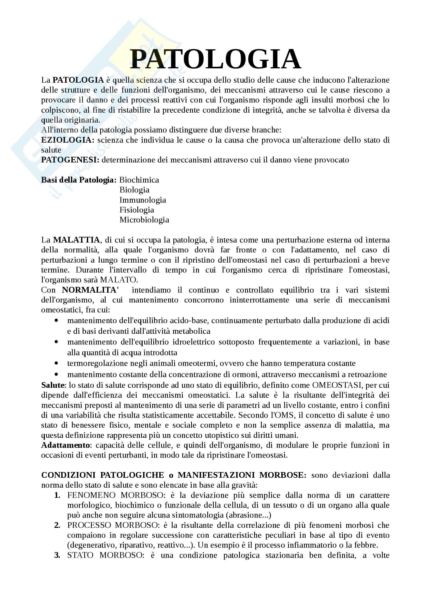 appunto I. Silvestri Patologia generale