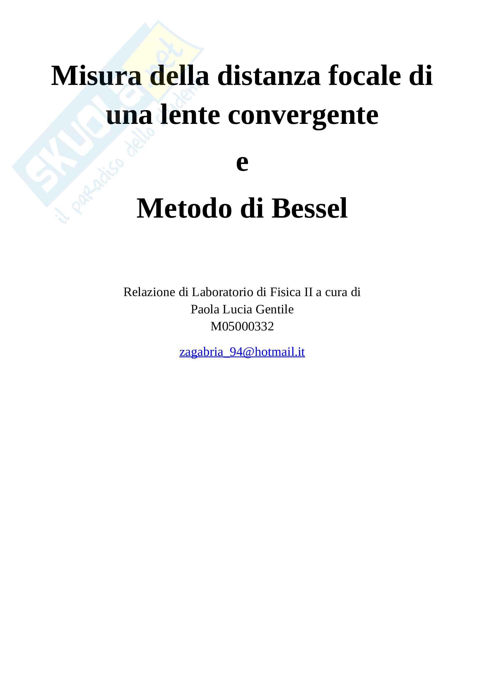 Relazione Lente Convergente