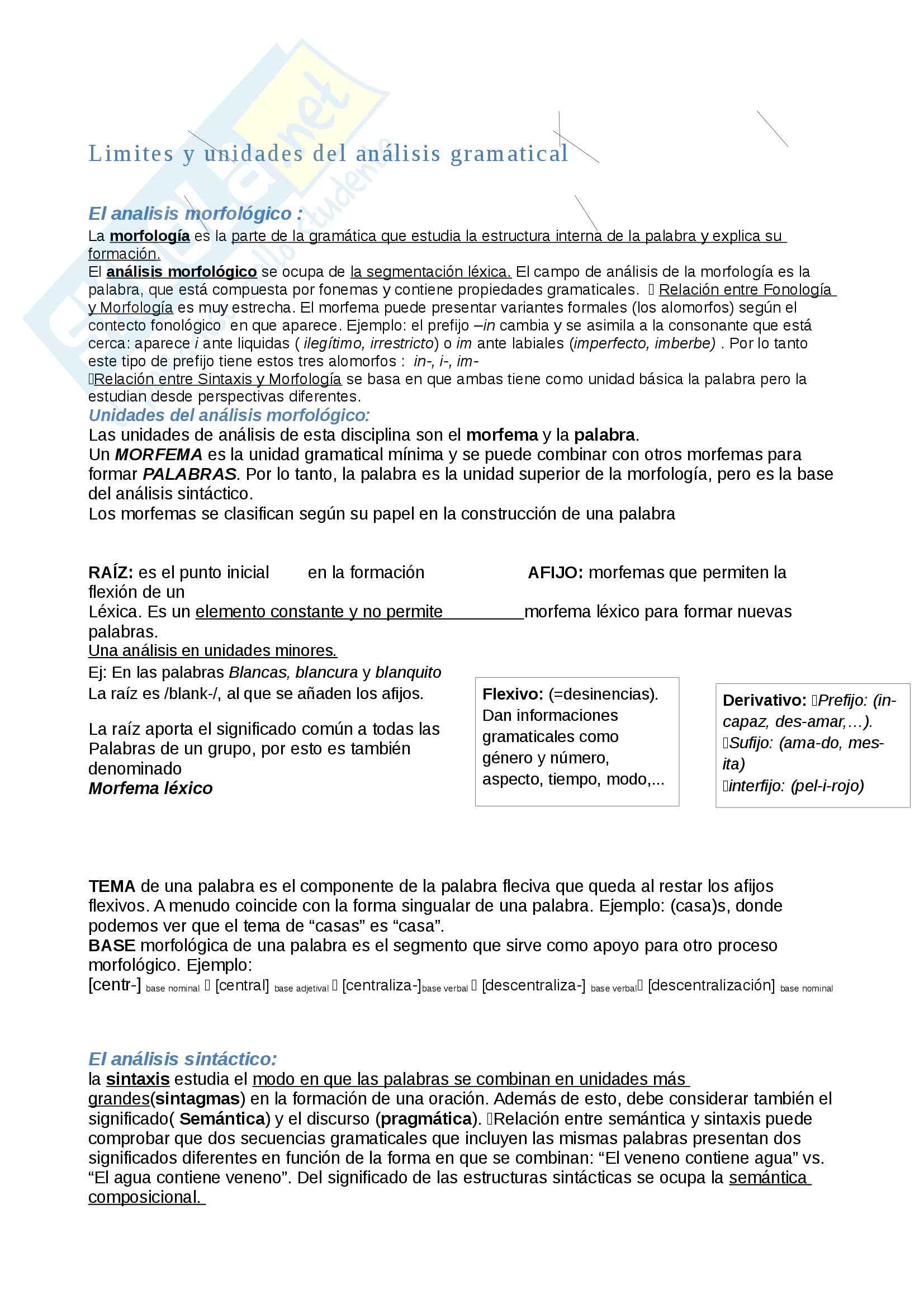 Análisis Morfológico y Sintáctico, Formación de palabras.