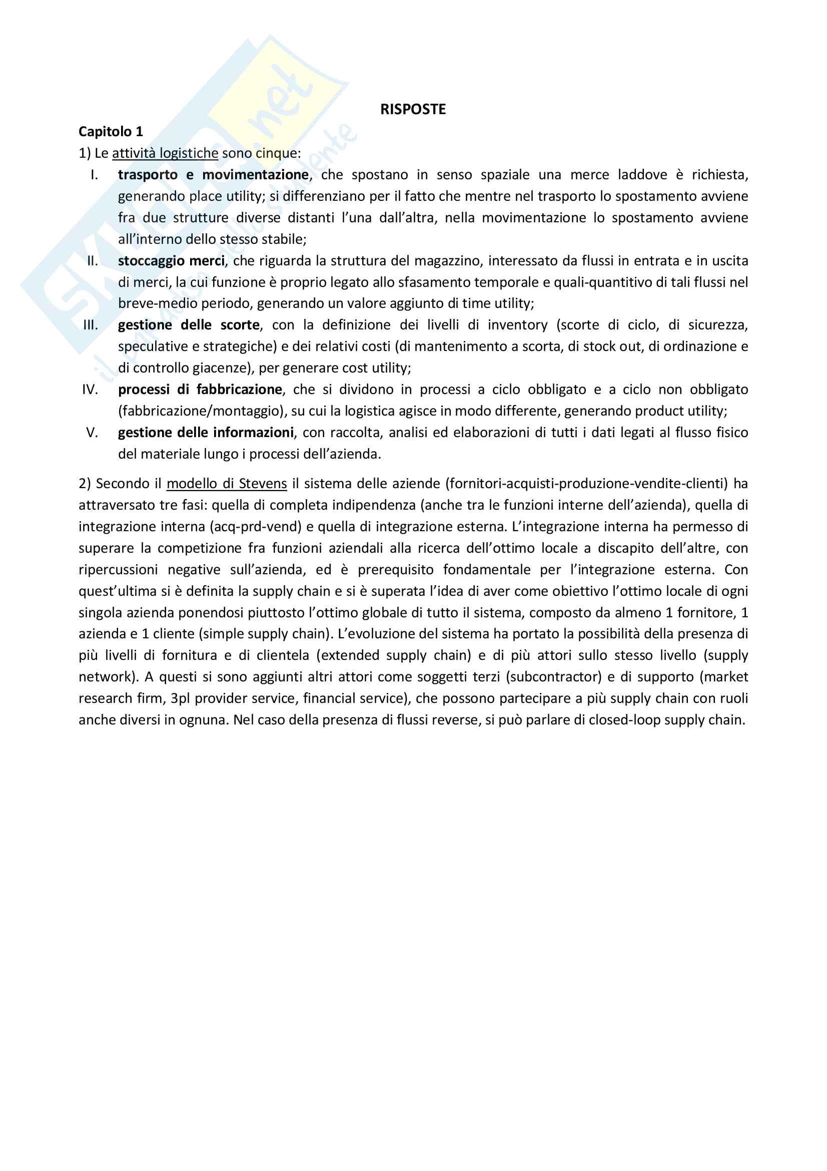 Riassunto esame con domande risolte e grandezze da ricordare - Logistica Pag. 2