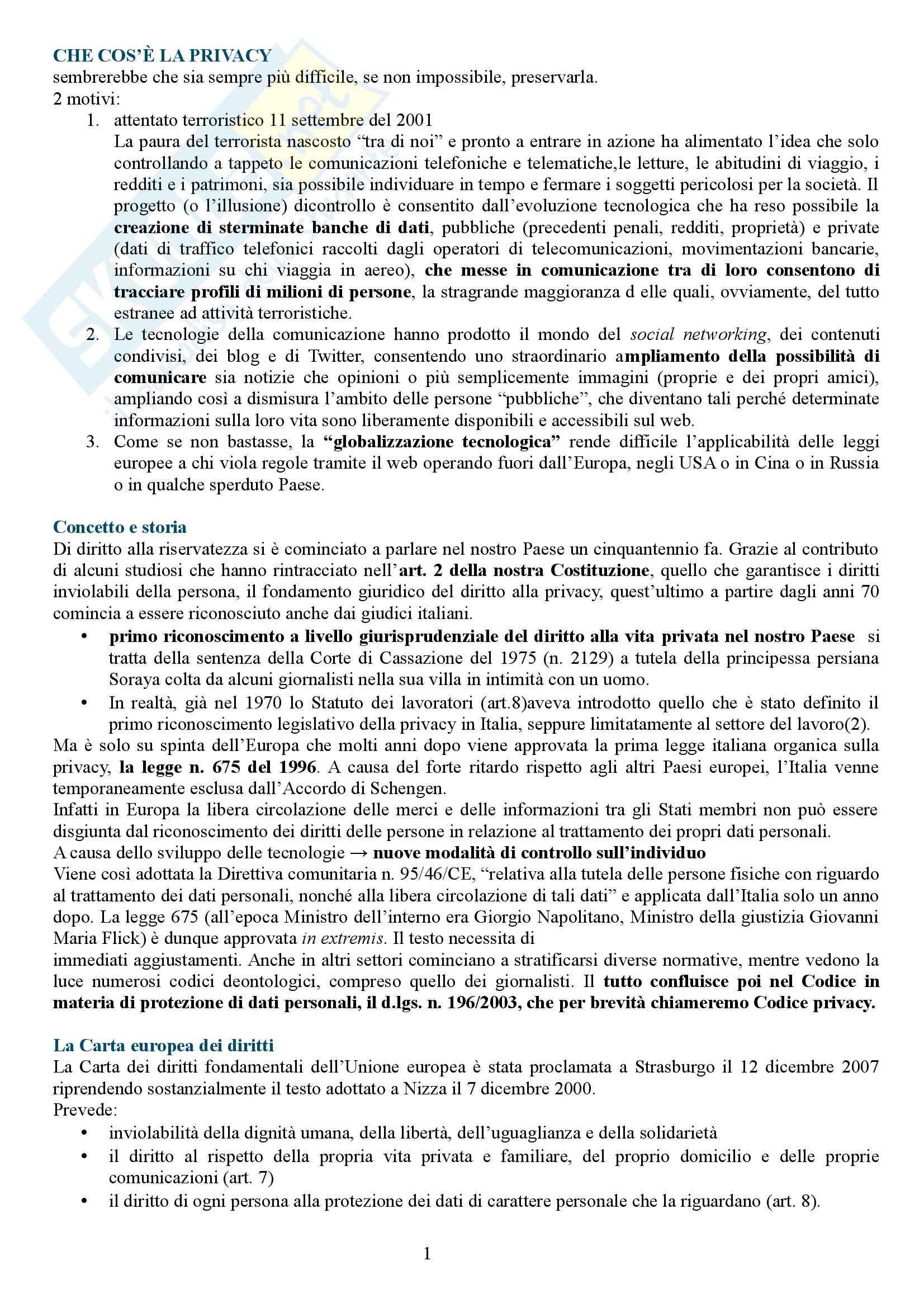 Riassunto esame comunicazione giornalistica, prof.Bartoli, libro consigliato Privacy e giornalismo