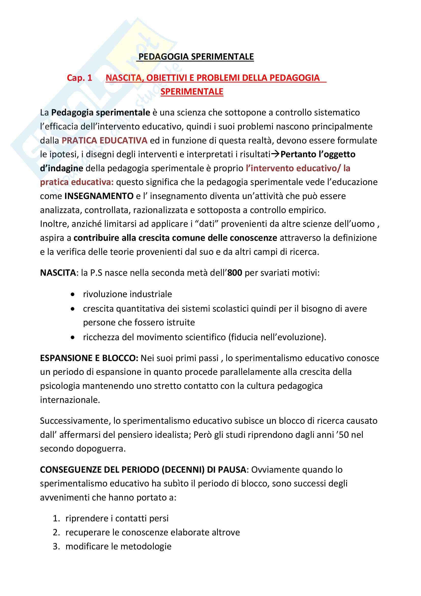 Riassunto esame pedagogia sperimentale,prof.ssa Paoletti,libro consigliato Introduzione alla pedagogia sperimentale,Paoletti