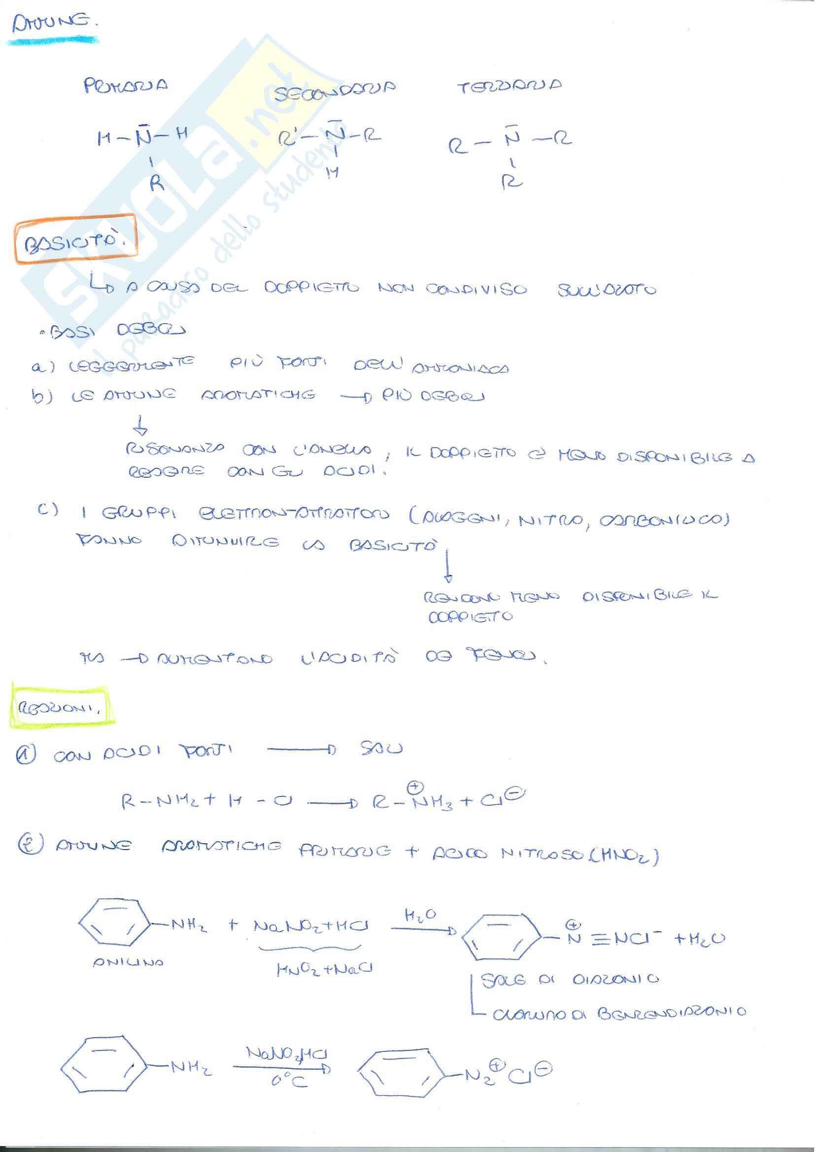 Chimica Organica - reazioni: ammine, aldeidi e chetoni