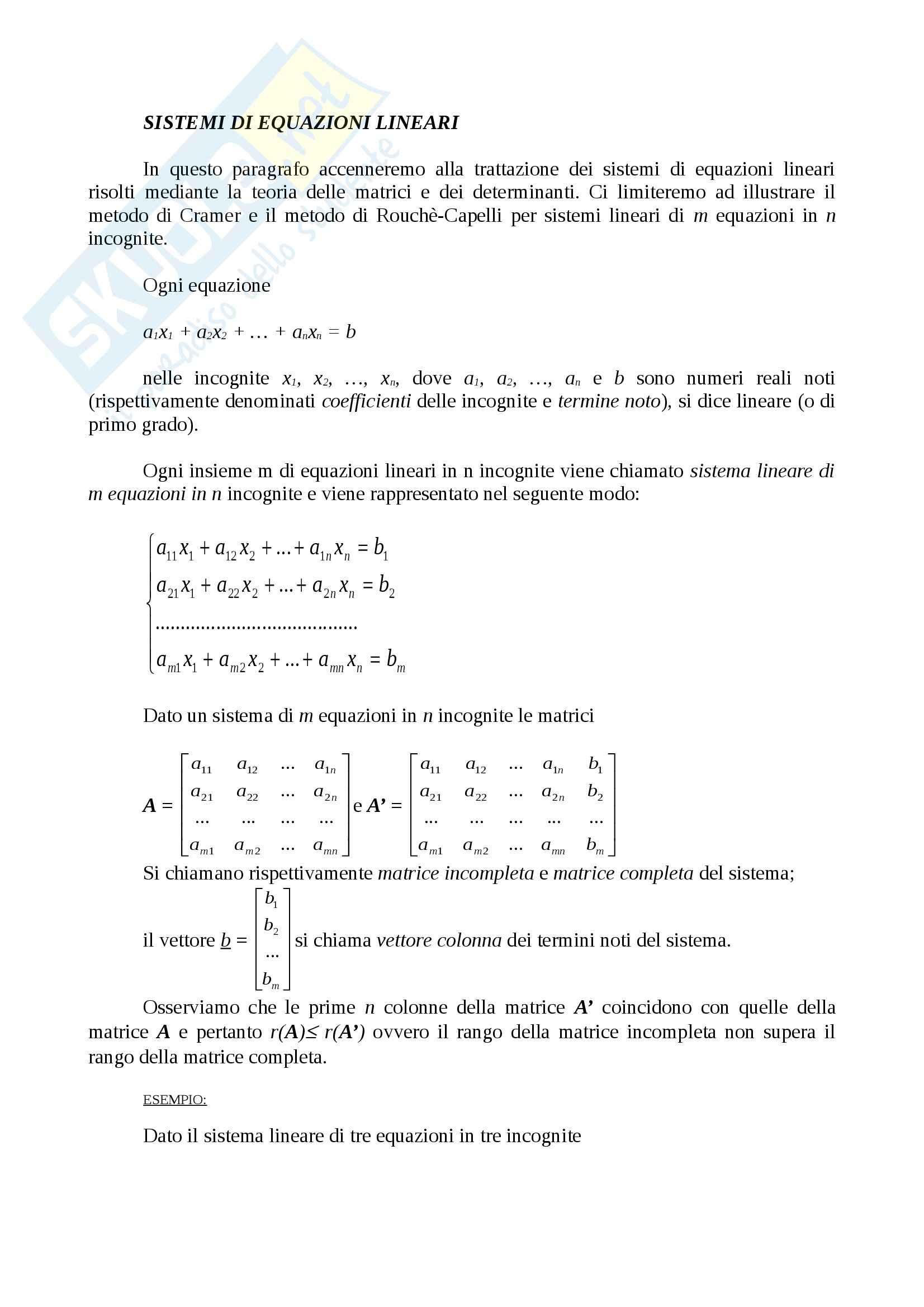 Matematica - sistemi lineari