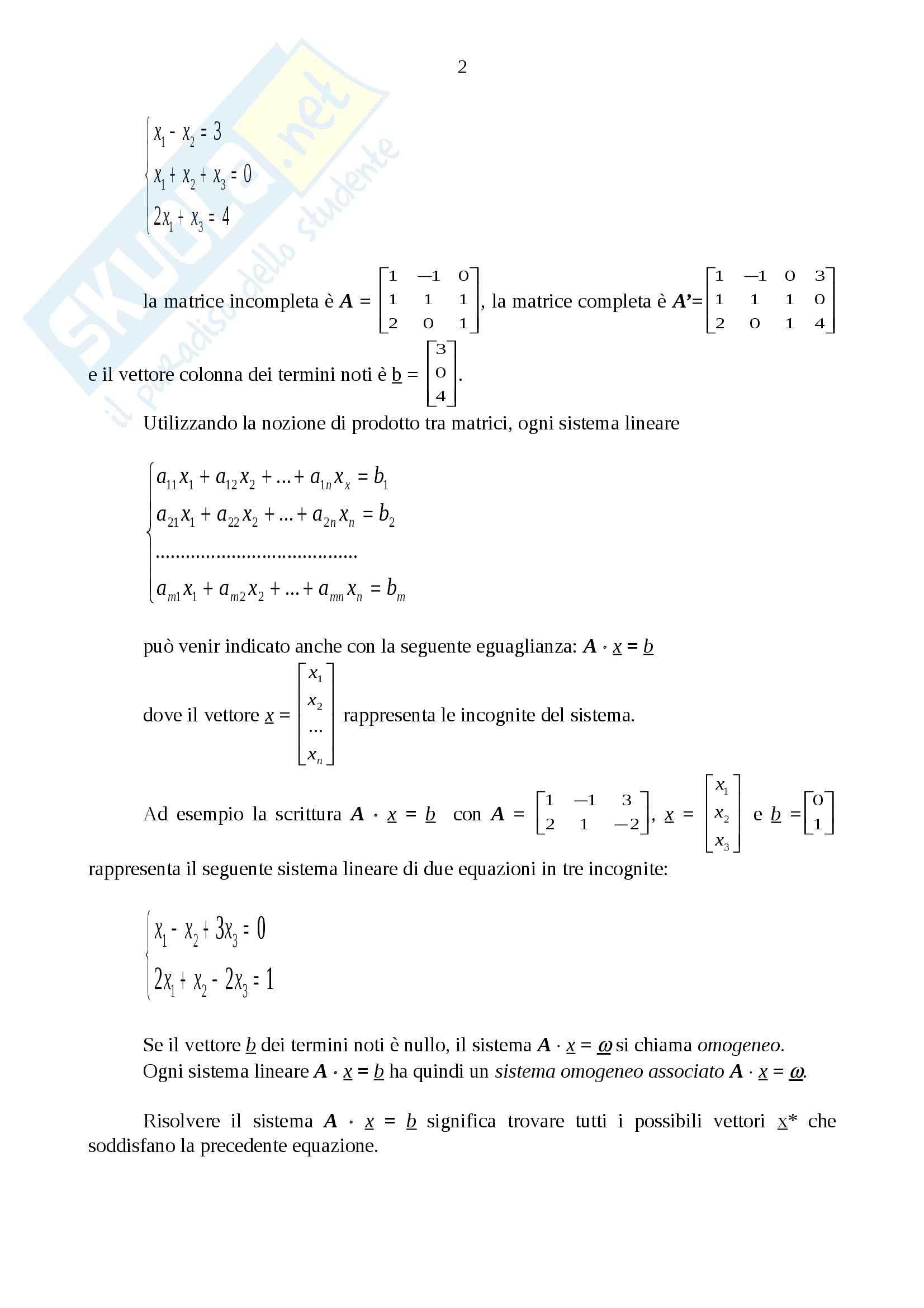 Matematica - sistemi lineari Pag. 2