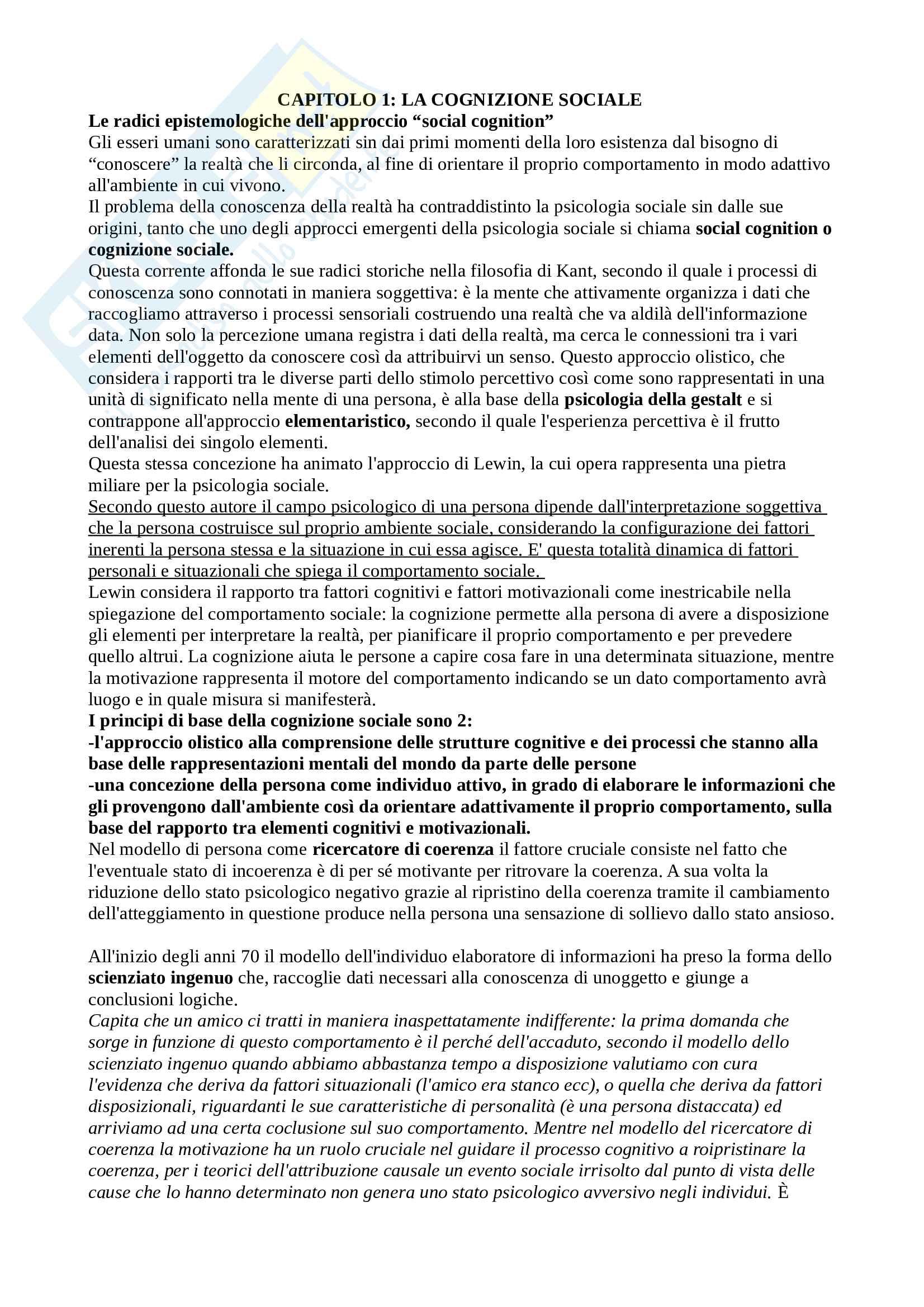 Riassunto Esame Psicologia sociale, Docente Mannarini Terri, Libro consigliato manuale di psicologia sociale di Palmonari, Cavazza, Rubini