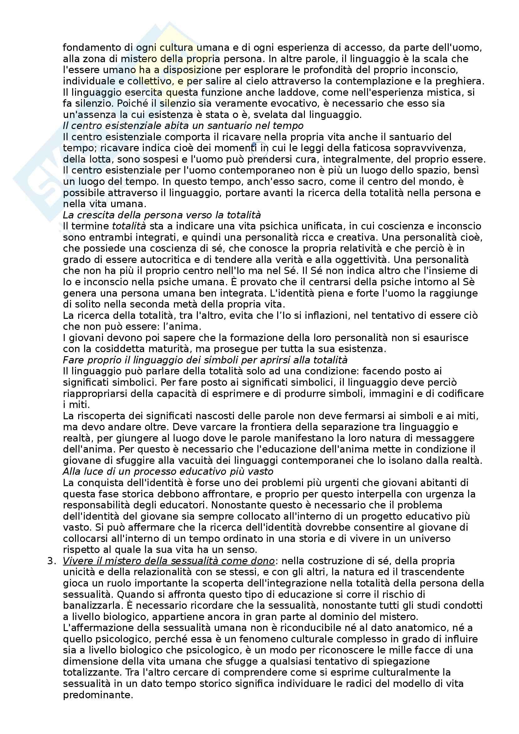 Riassunto esame Pedagogia generale, prof. Pollo, libro consigliato Manuale di pedagogia generale, Pollo Pag. 41
