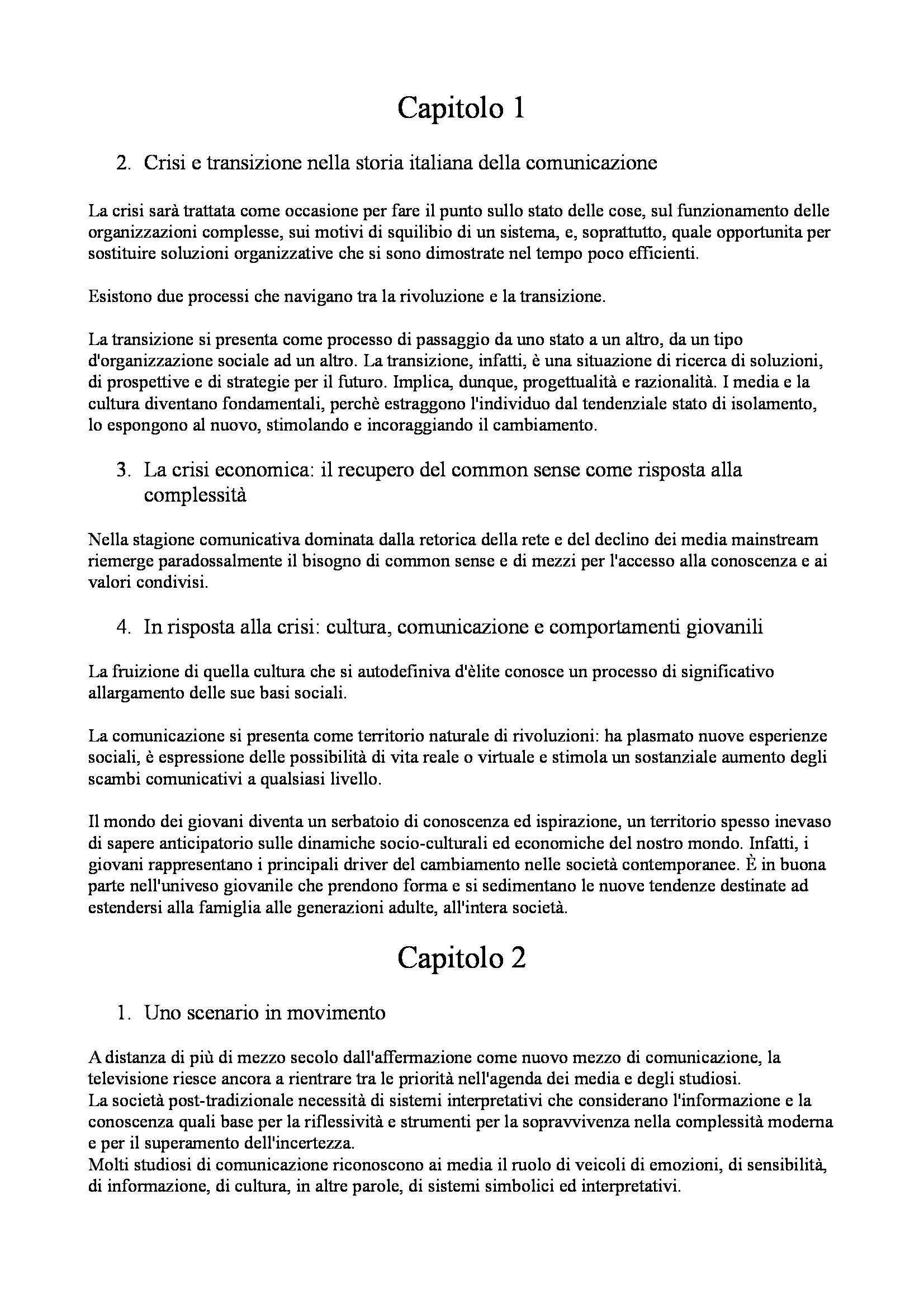 Riassunto esame Sociologia culturale, prof. Gavrila, libro consigliato La crisi della Tv: La Tv della crisi