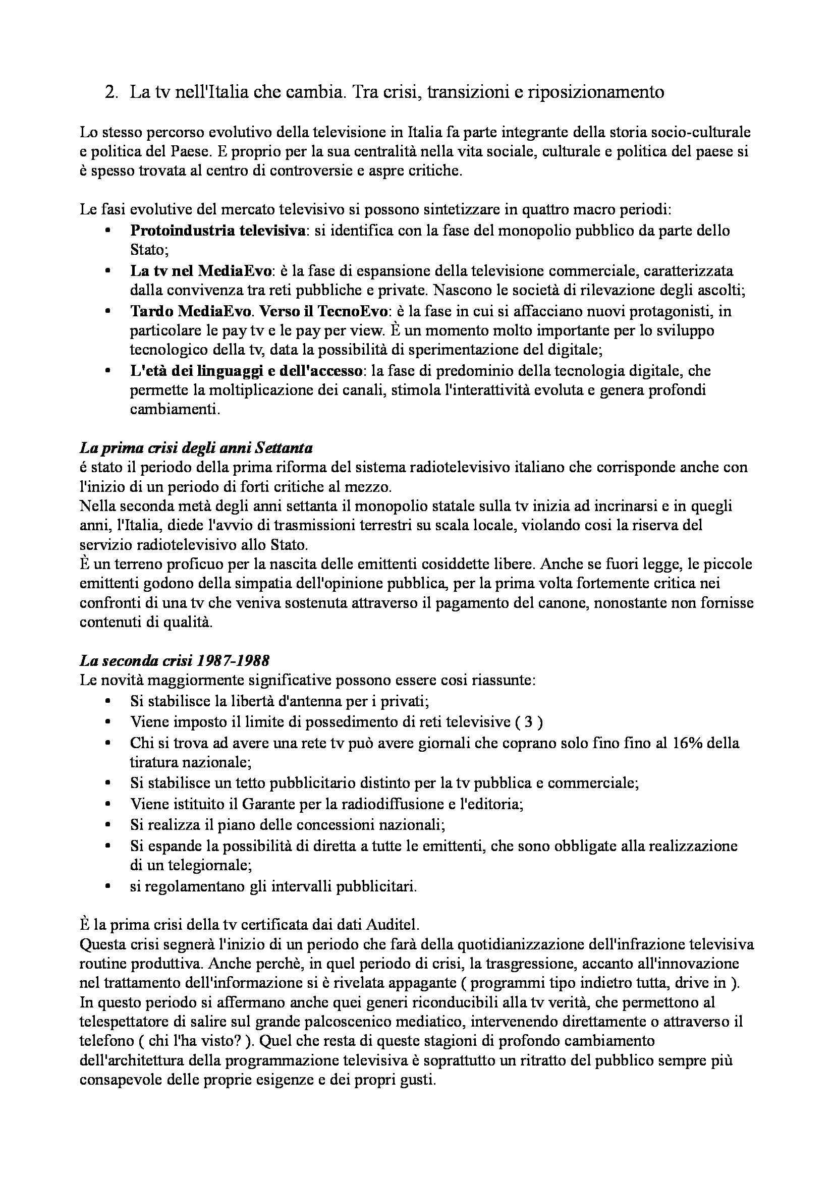 Riassunto esame Sociologia culturale, prof. Gavrila, libro consigliato La crisi della Tv: La Tv della crisi Pag. 2