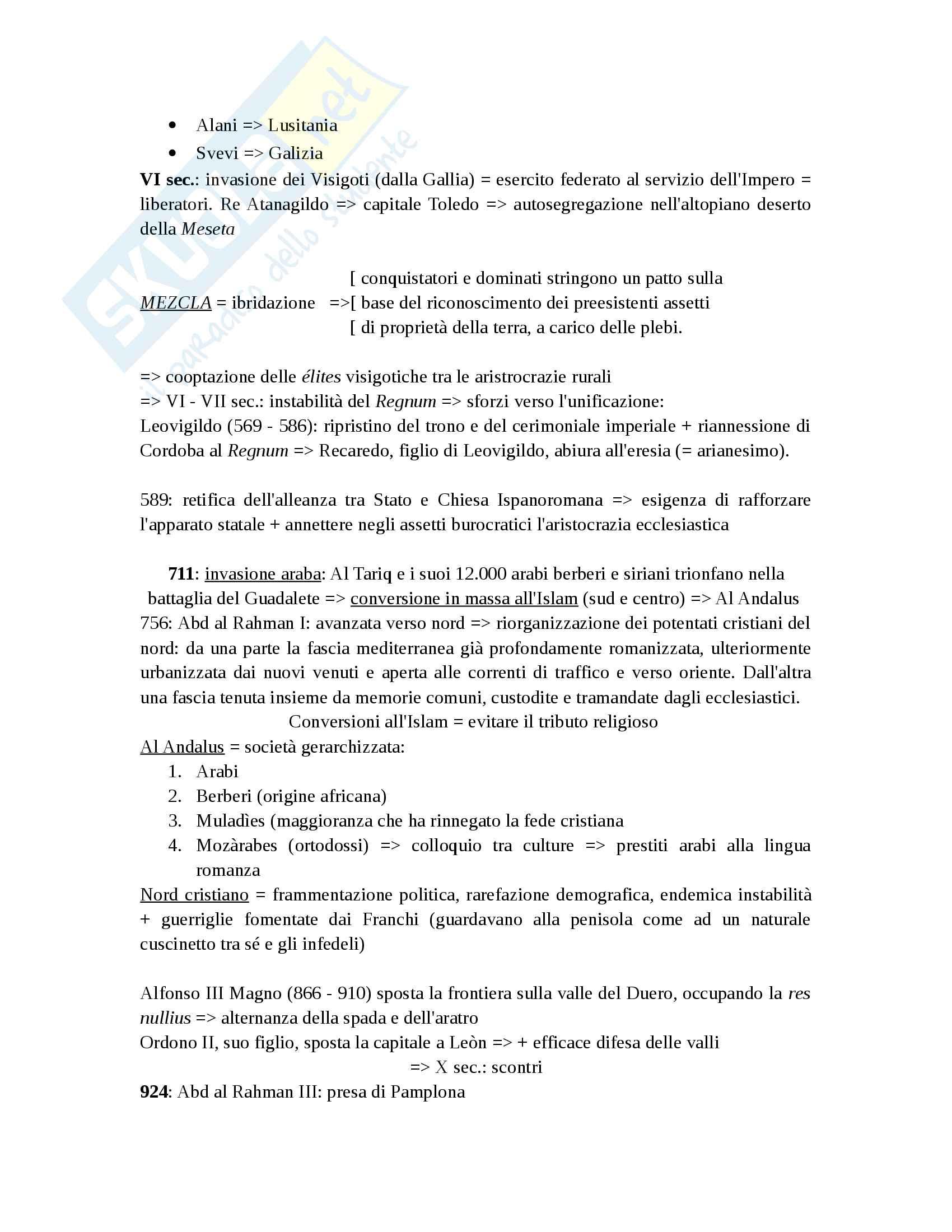 Storia di Spagna (riassunto schematico) Pag. 2
