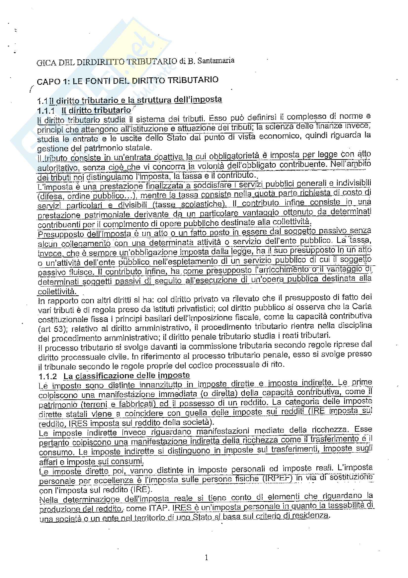 appunto B. Santamaria Diritto Tributario