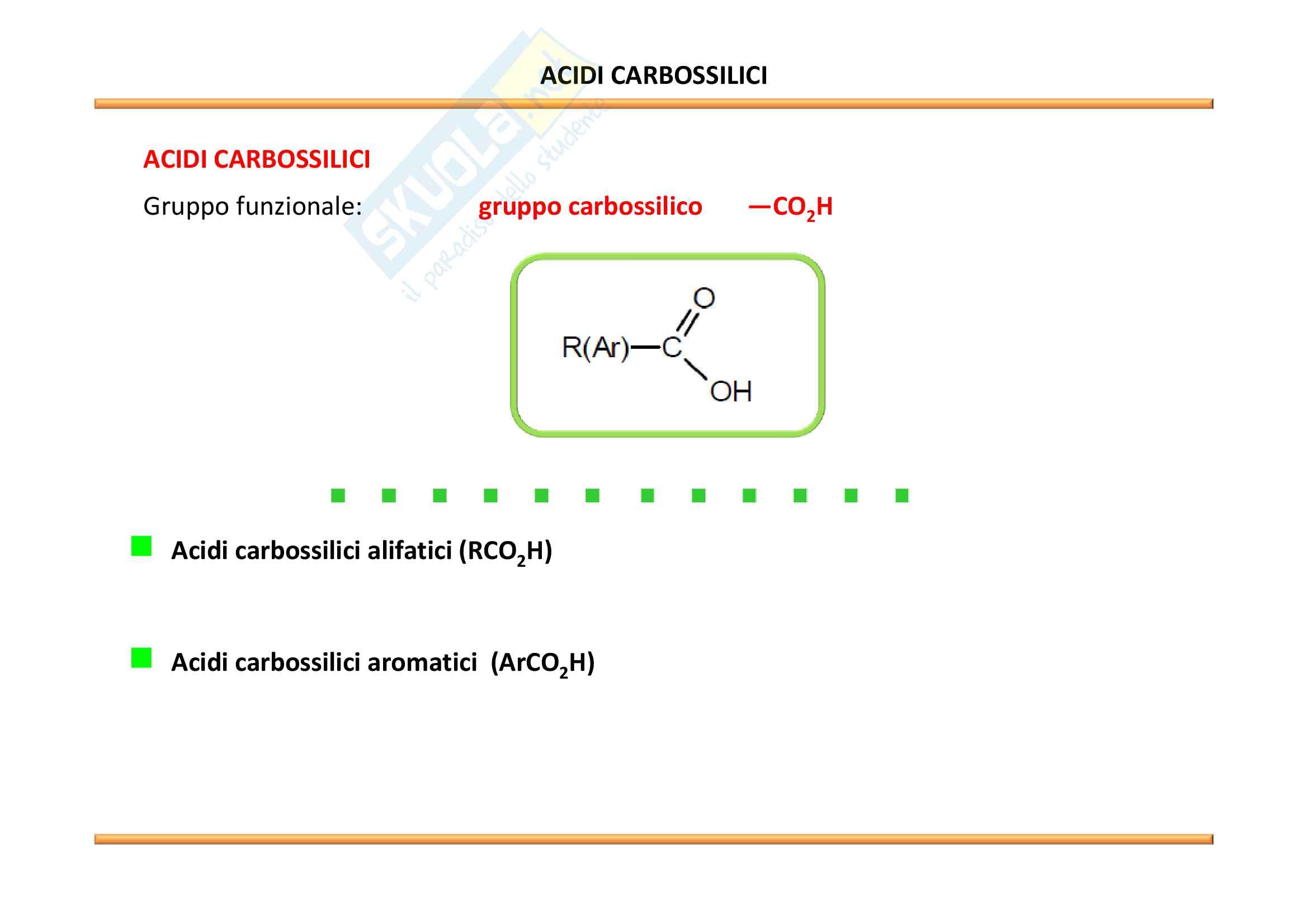 Chimica Organica: Acidi carbossilici e derivati