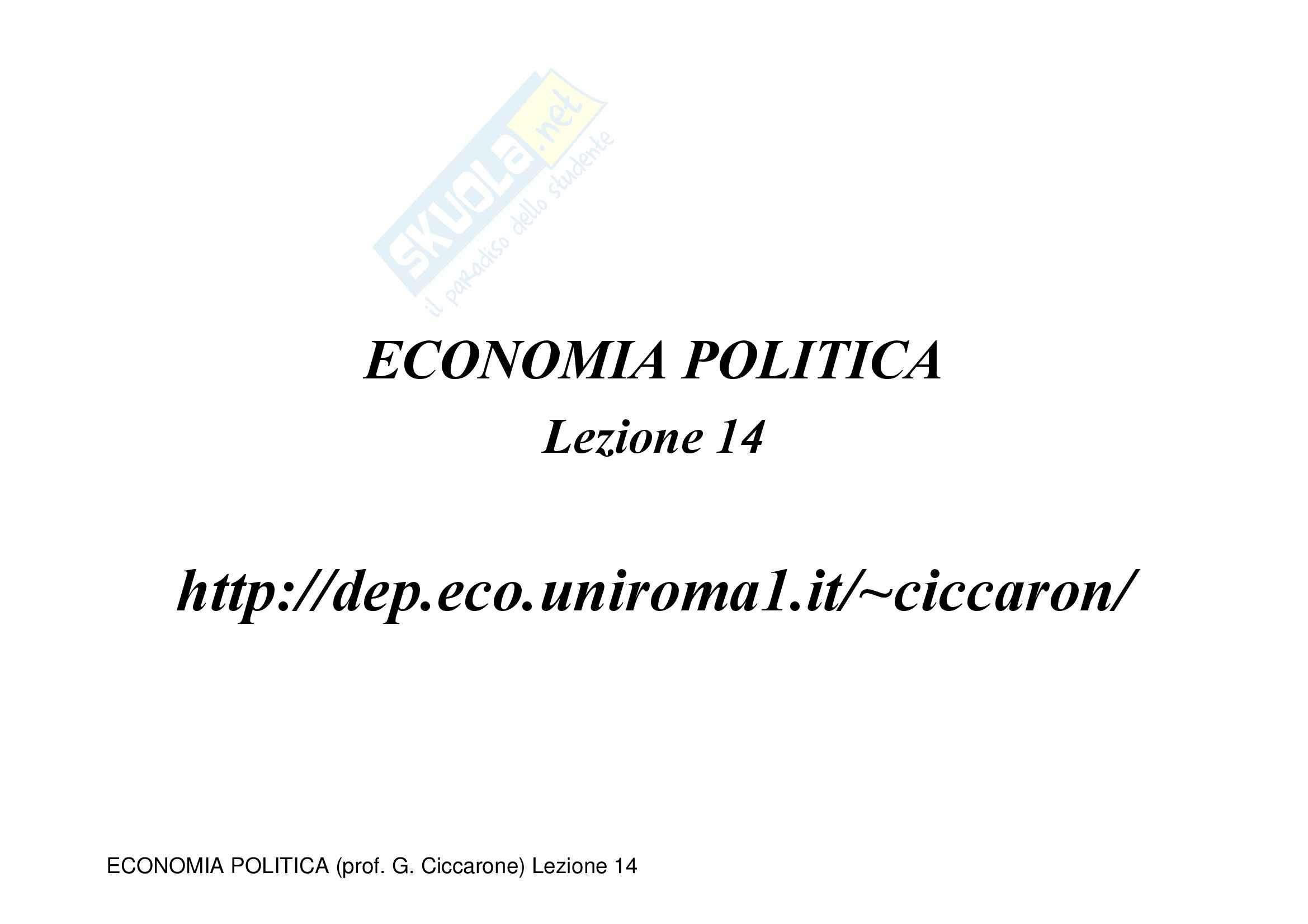 appunto G. Ciccarone Economia Monetaria