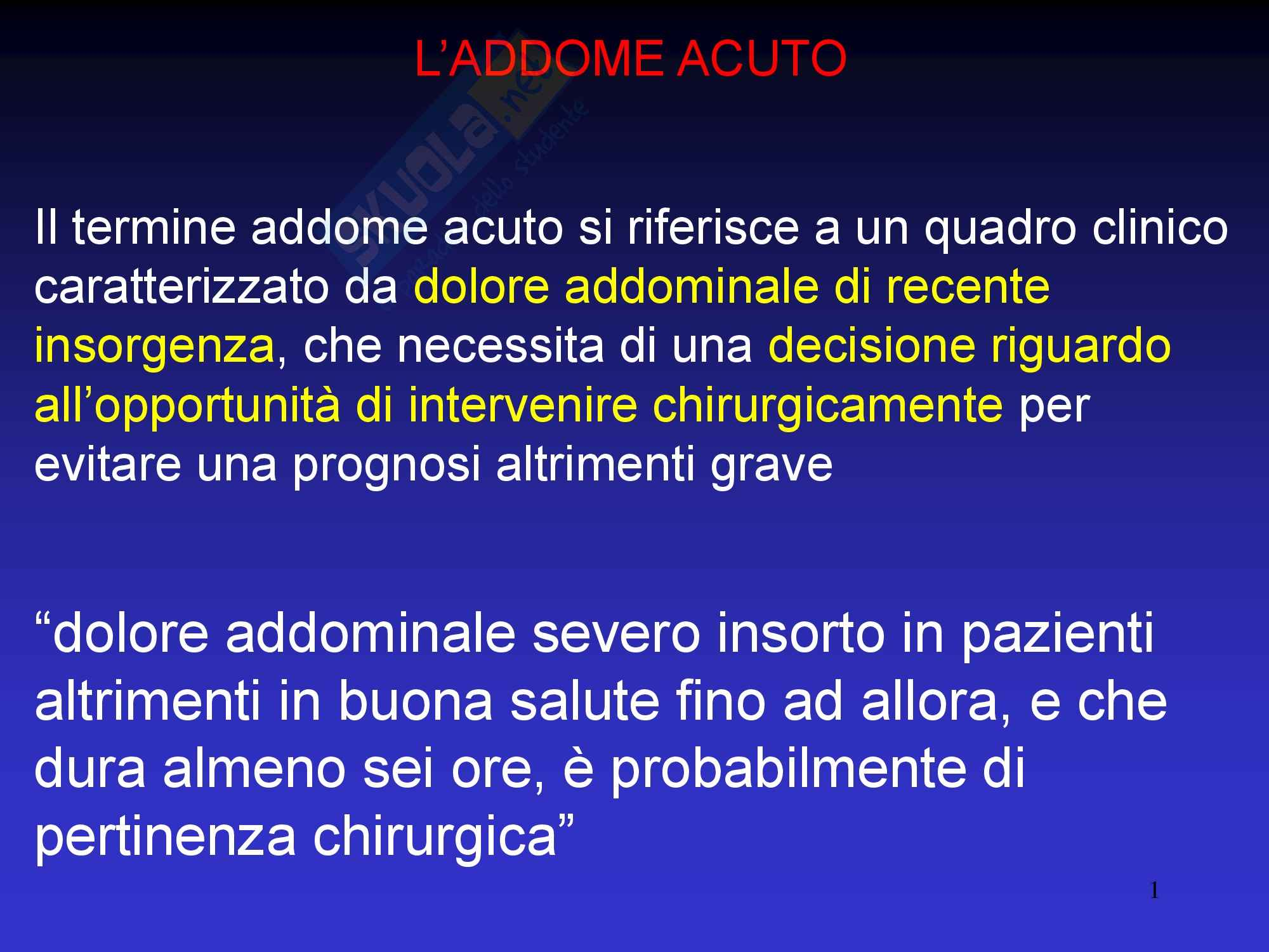 Addome Acuto - Semeiotica Chirurgica