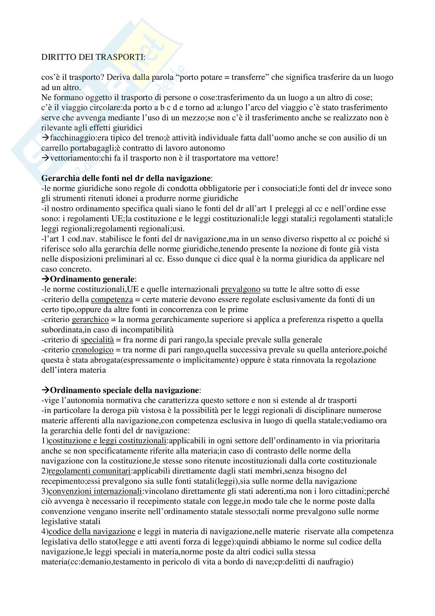 Riassunto esame Diritto dei Trasporti, prof. Antonini, libro consigliato Corso di diritto dei trasporti