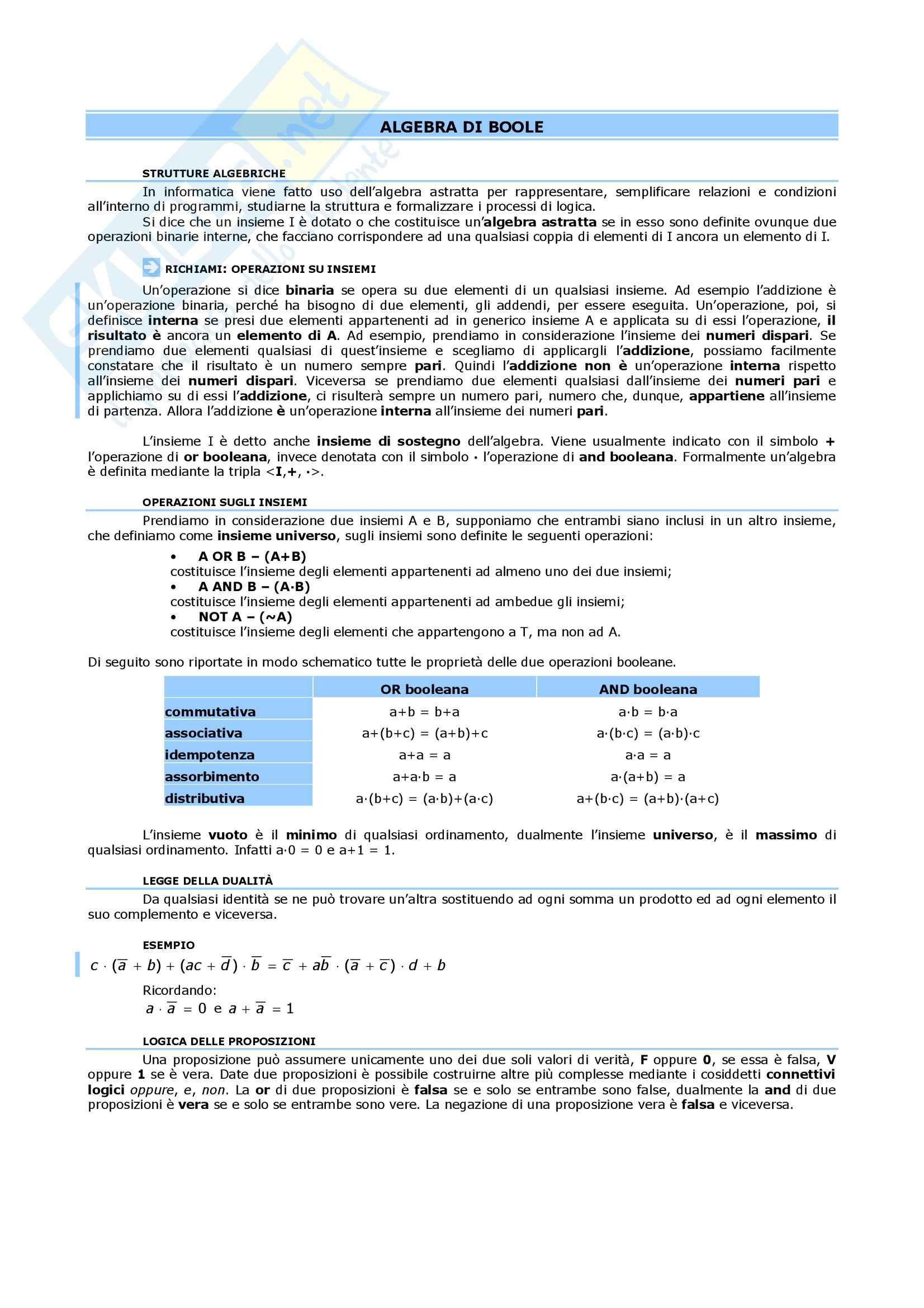 Matematica III - l'algebra booleana