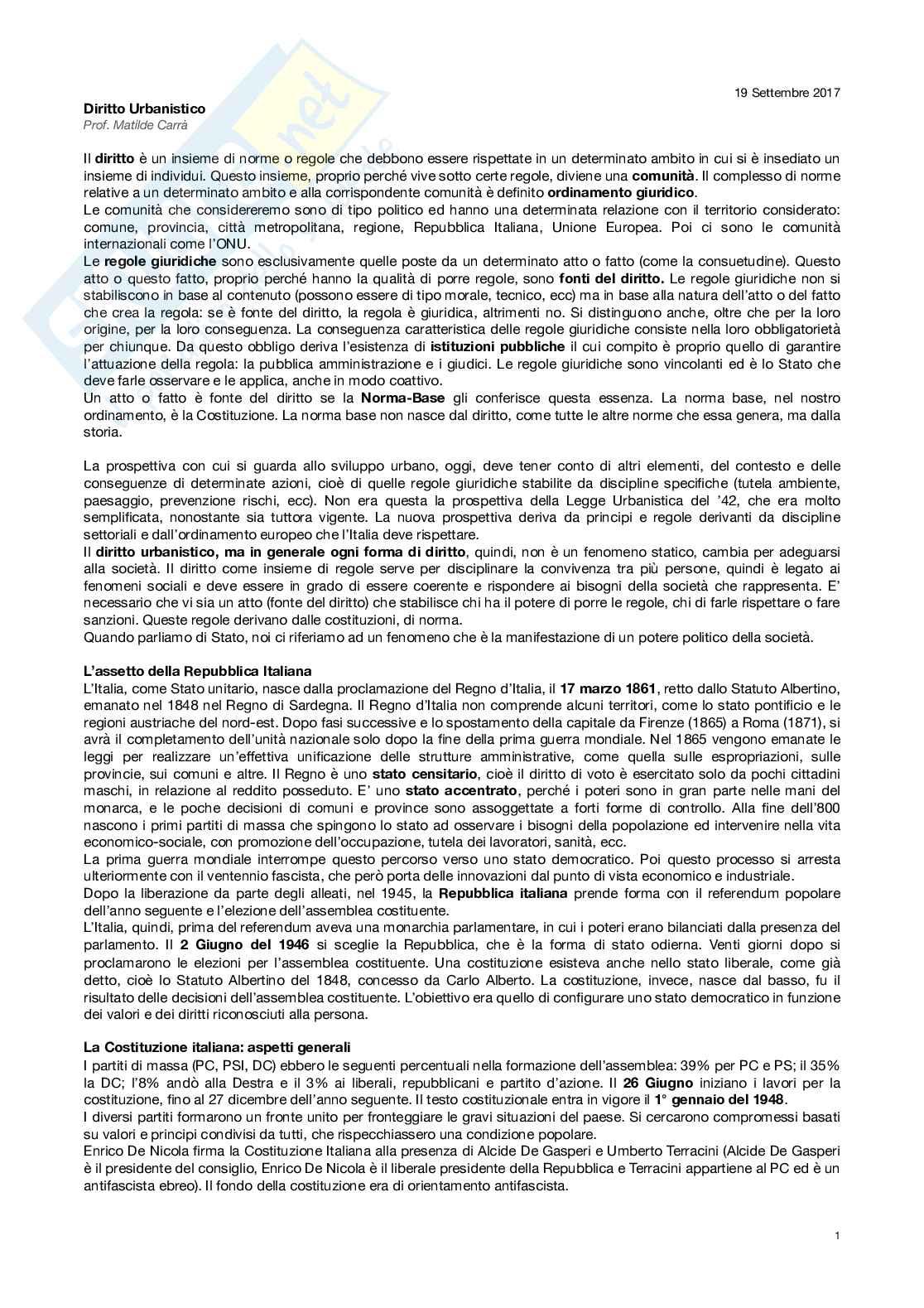 Diritto urbanistico e governo del territorio - Appunti