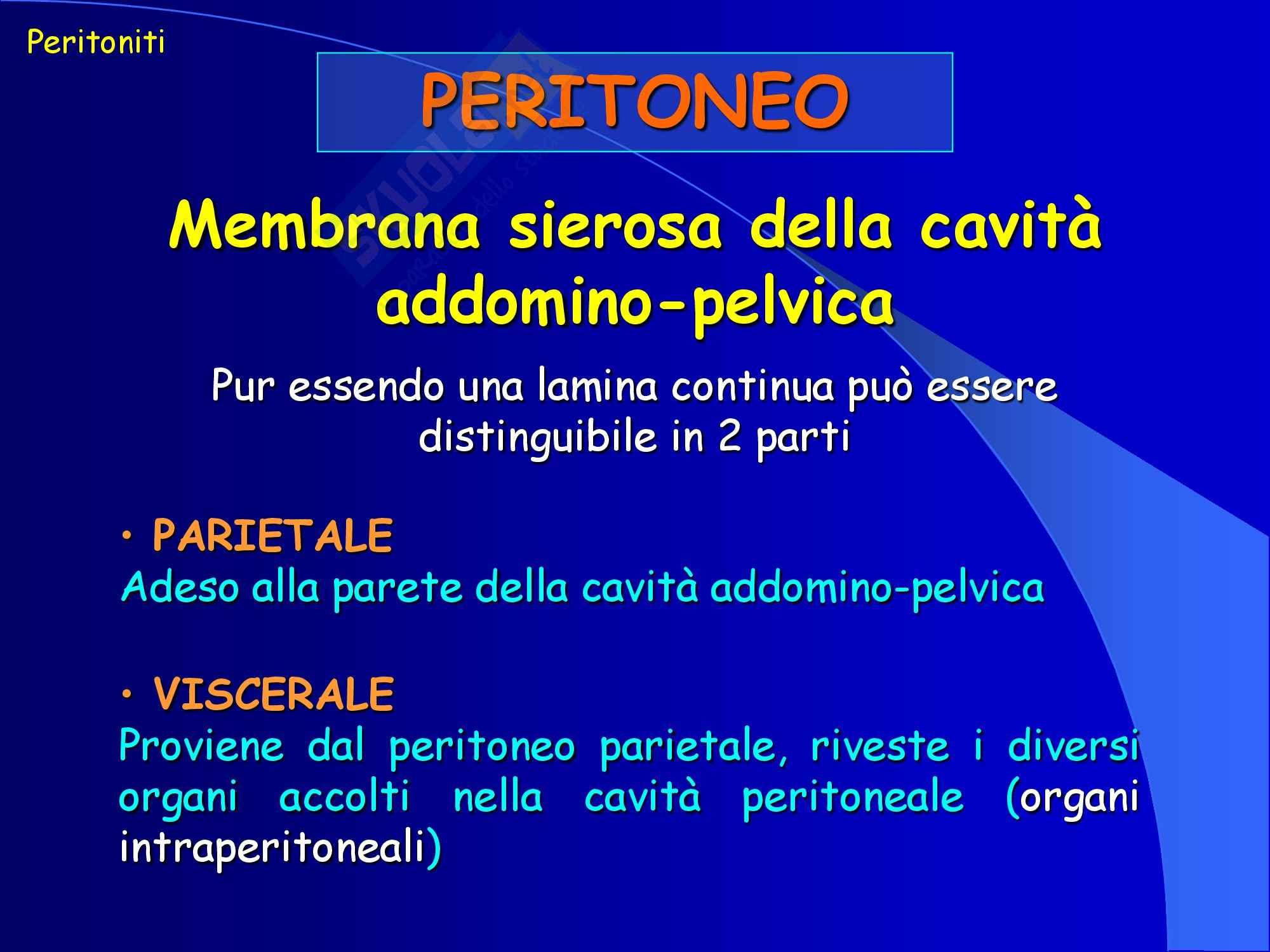 Chirurgia dell'apparato digerente - Peritoneo e peritonite