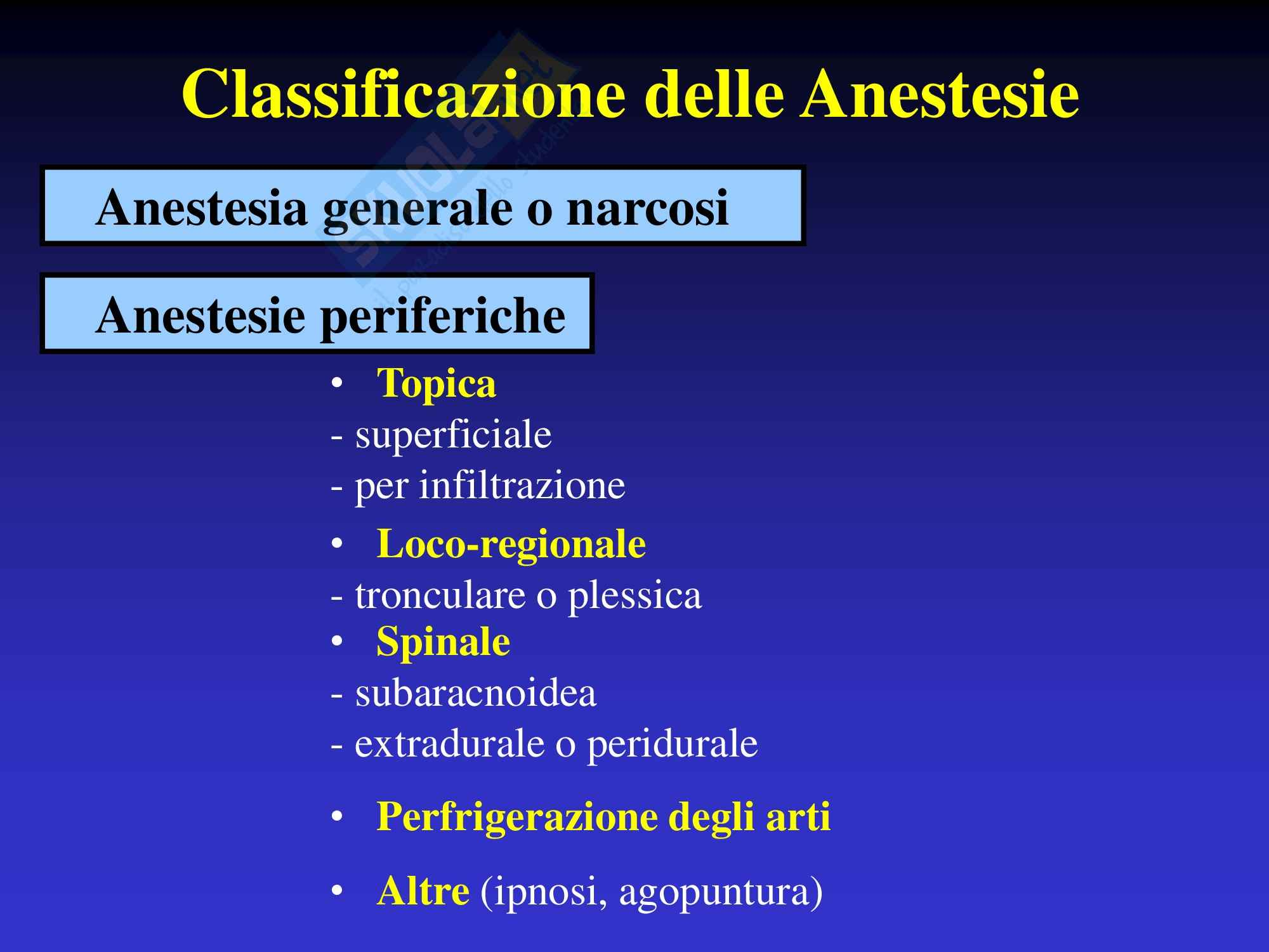 Classificazione anestesie
