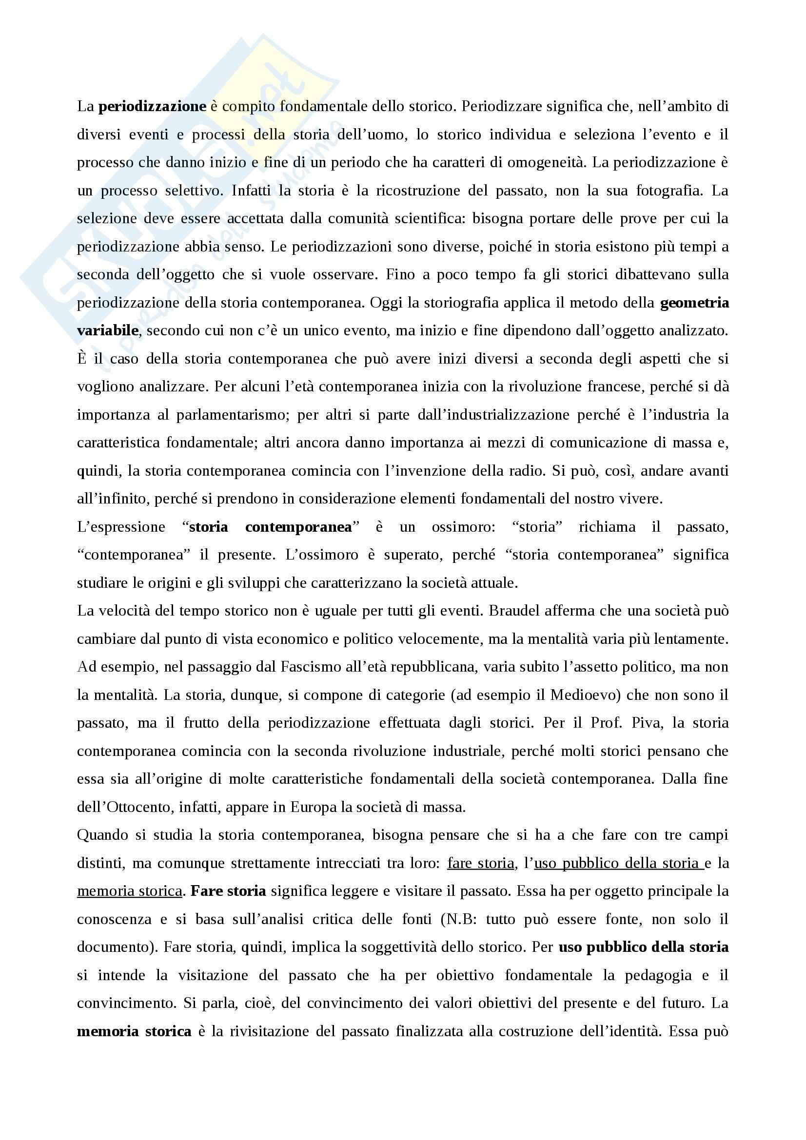 Storia contemporanea - la periodizzazione