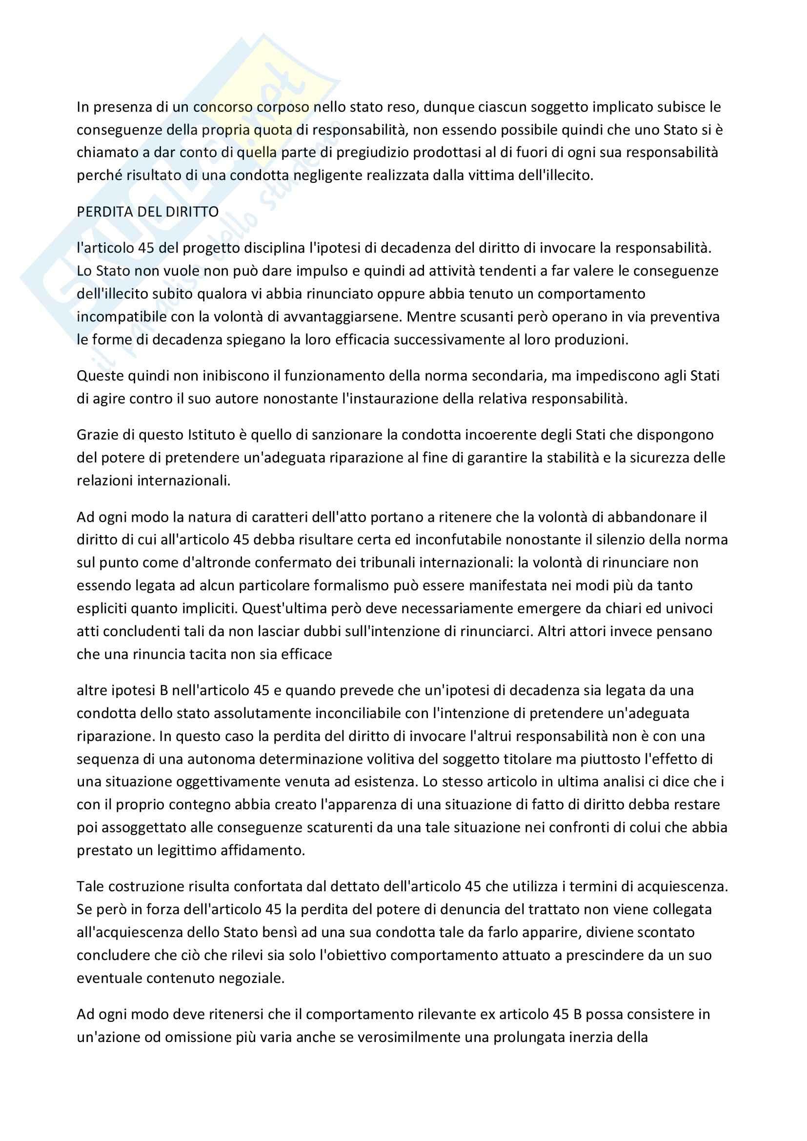 Riassunto esame Diritto, prof. Scalese, libro consigliato La rilevanza delle scusanti nella teoria dell'illecito internazionale Pag. 11